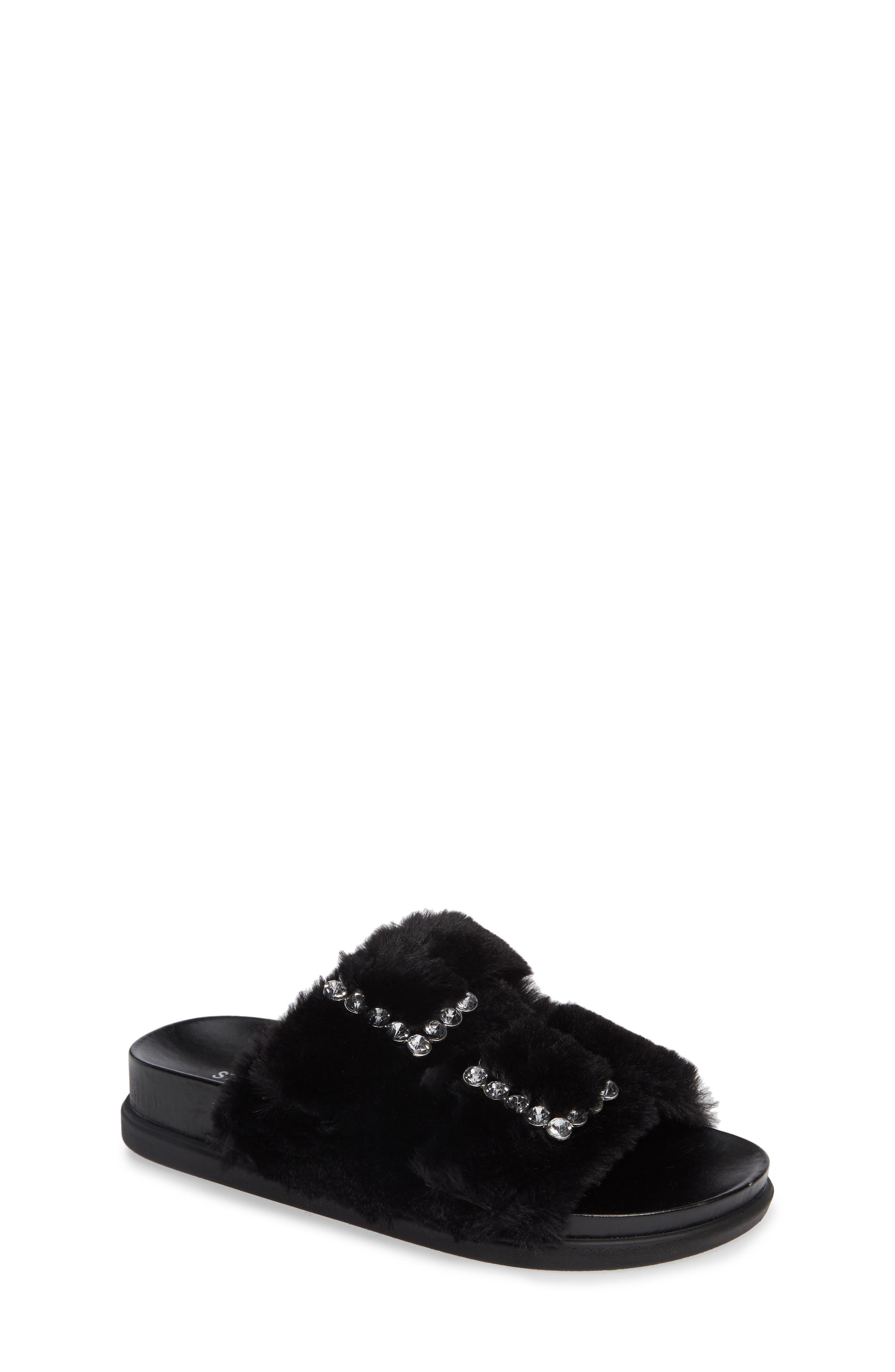 Faux Fur Slide Sandal,                         Main,                         color, Black