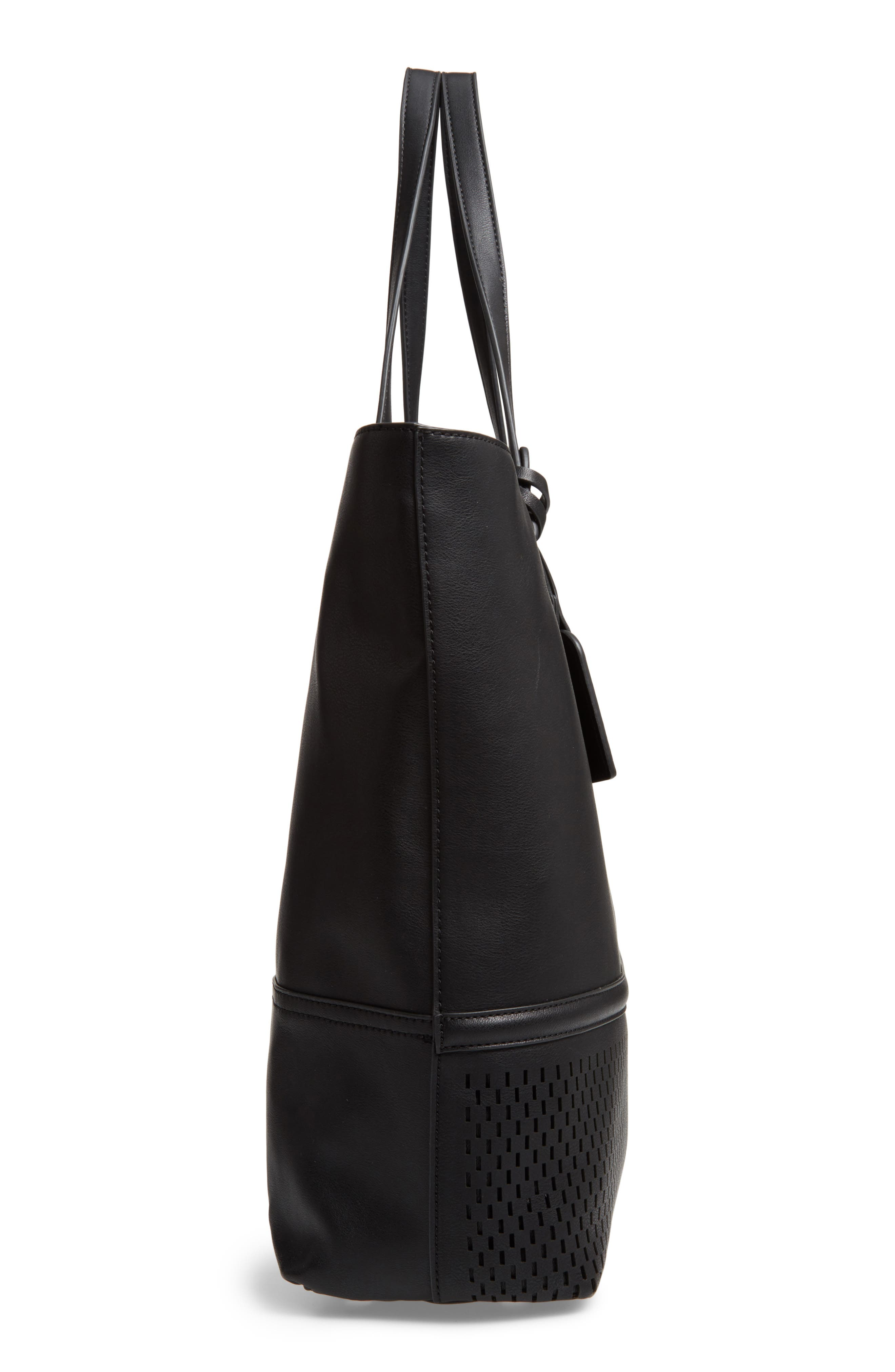 Oversize Faux Leather Tote,                             Alternate thumbnail 4, color,                             Black