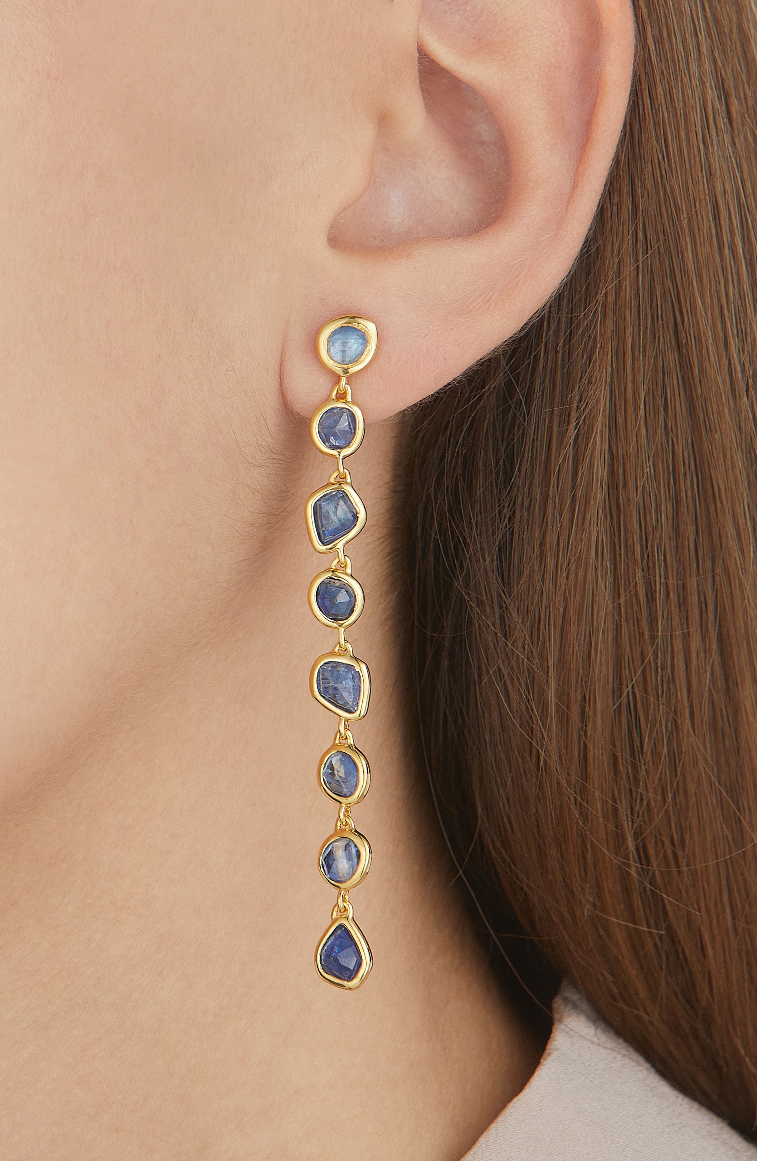 Siren Mini Nugget Earrings,                             Alternate thumbnail 2, color,                             Gold/ Kyanite