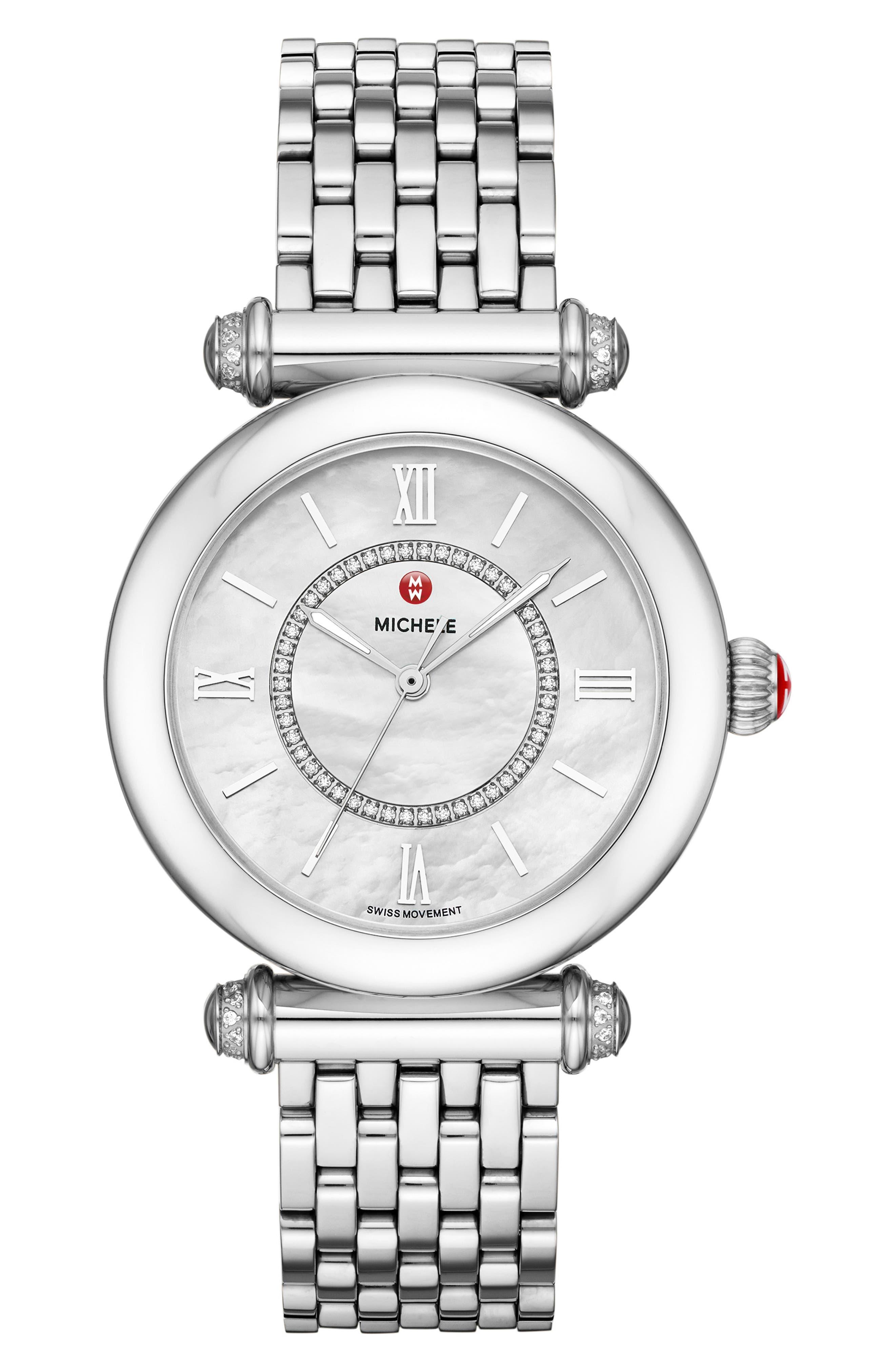 Caber Diamond Bracelet Watch, 35mm,                             Main thumbnail 1, color,                             Silver/ Mop/ Silver