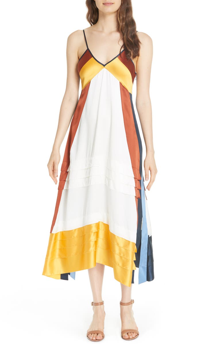 Sasha Colorblock Silk Midi Dress