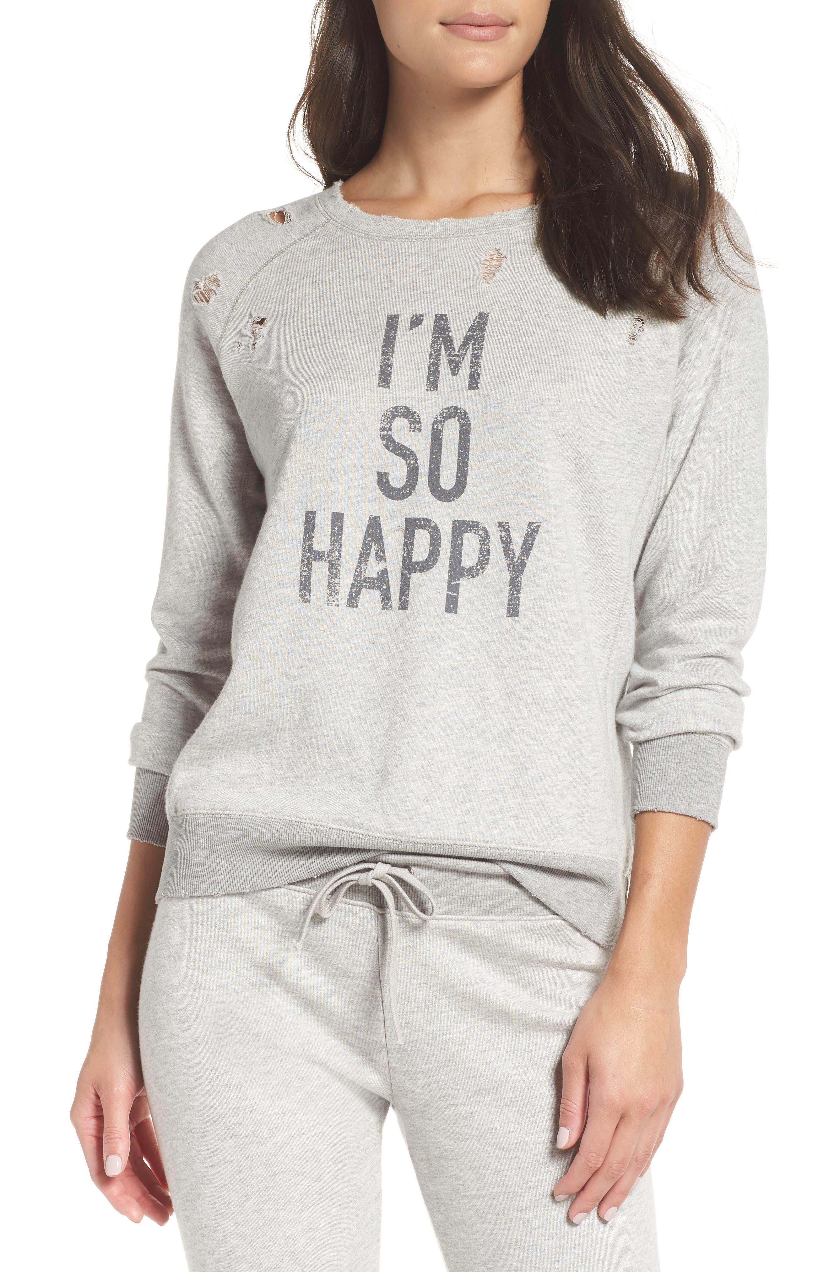 DAVID LERNER I'M So Happy Distressed Sweatshirt in Grey