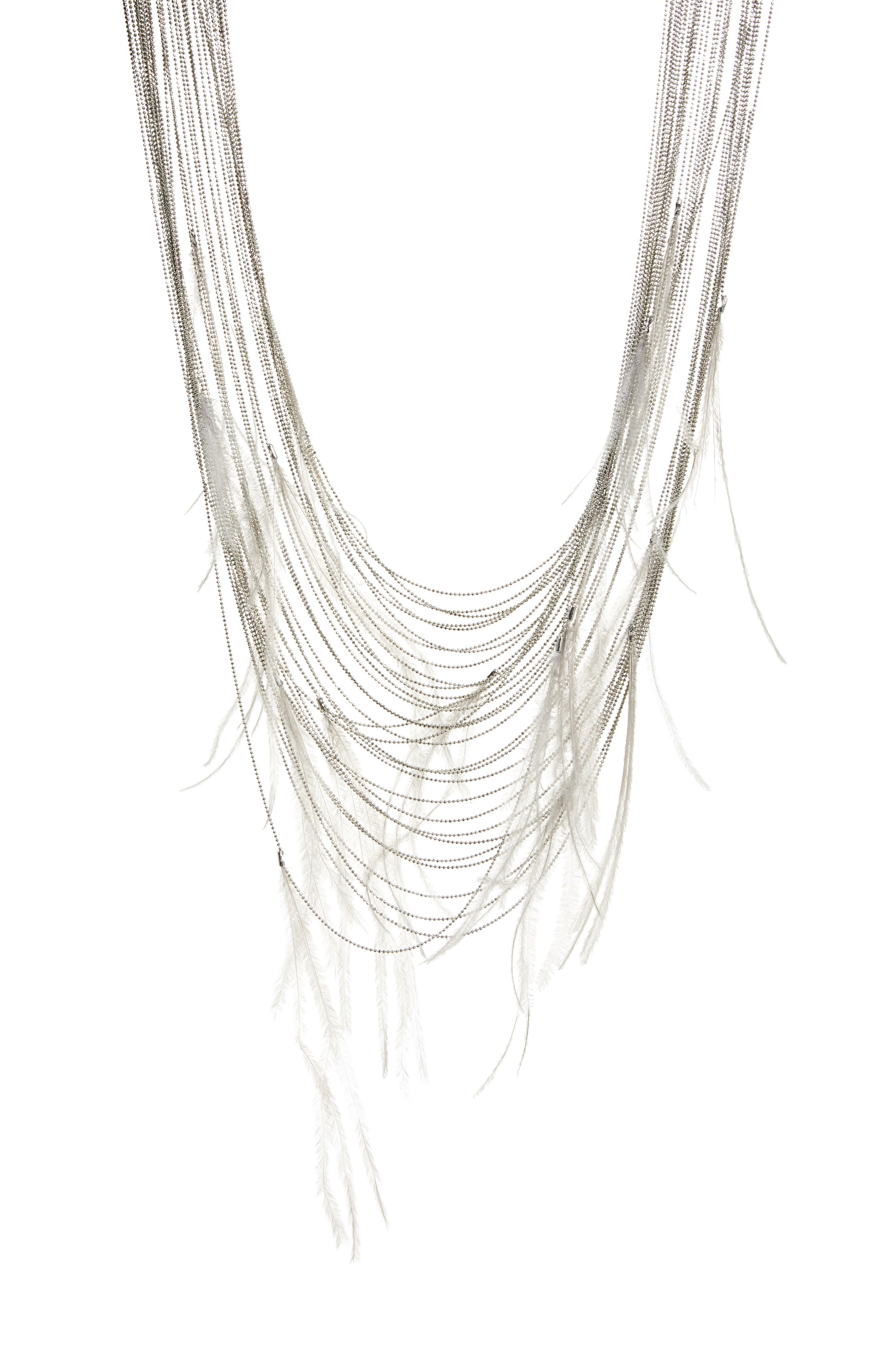 FEATHER MULTISTRAND NECKLACE