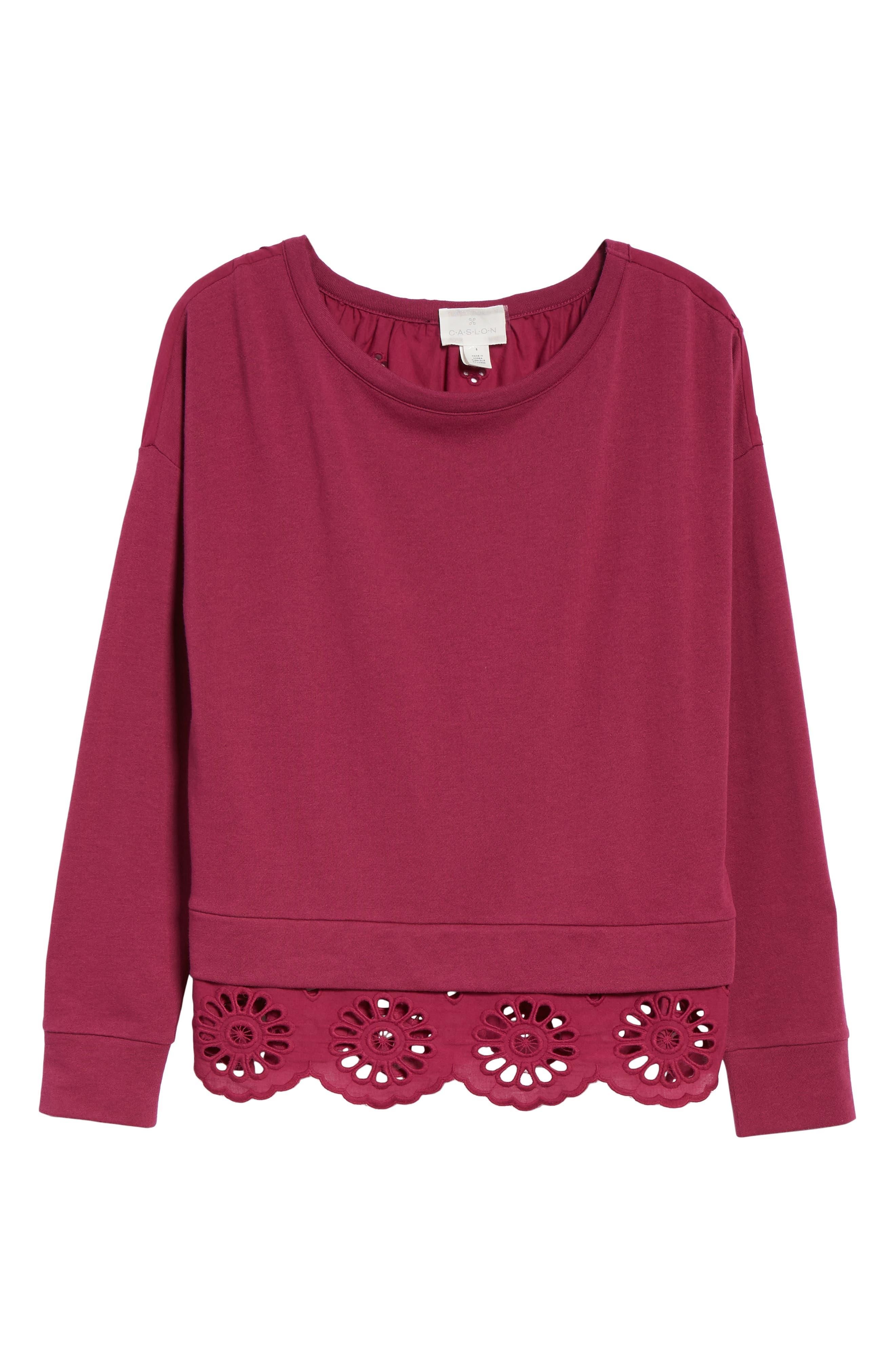 Eyelet Trim Sweatshirt,                             Alternate thumbnail 6, color,                             Purple Fuchsia