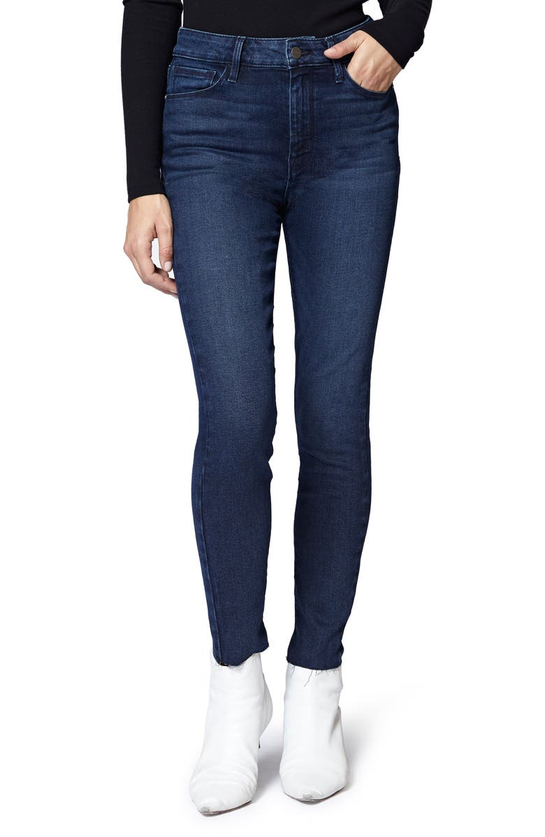 Social High Rise Raw Hem Skinny Ankle Jeans