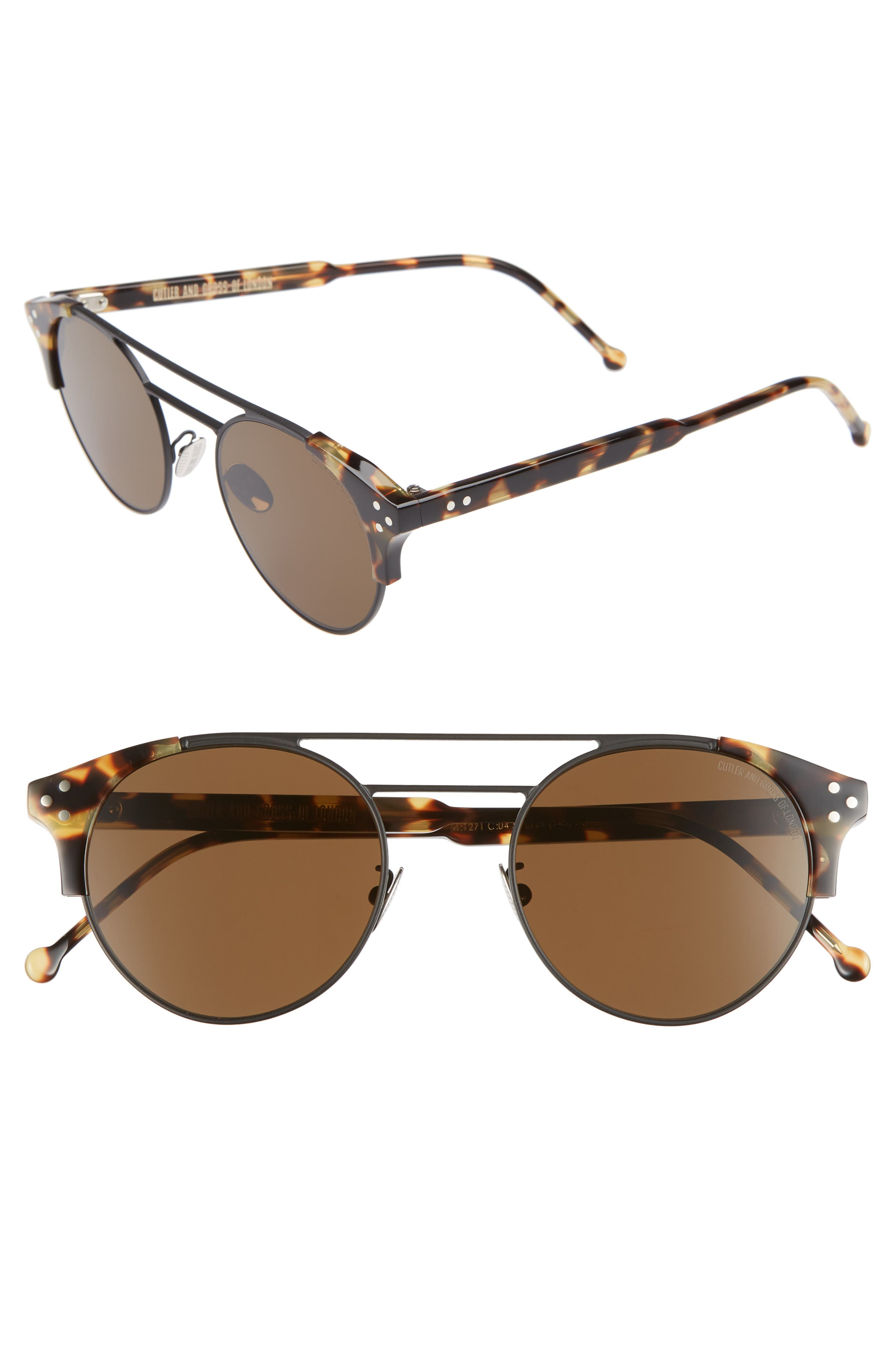 CUTLER AND GROSS 50MM POLARIZED ROUND SUNGLASSES - BLACK AND CAMOUFLAGE/ BROWN