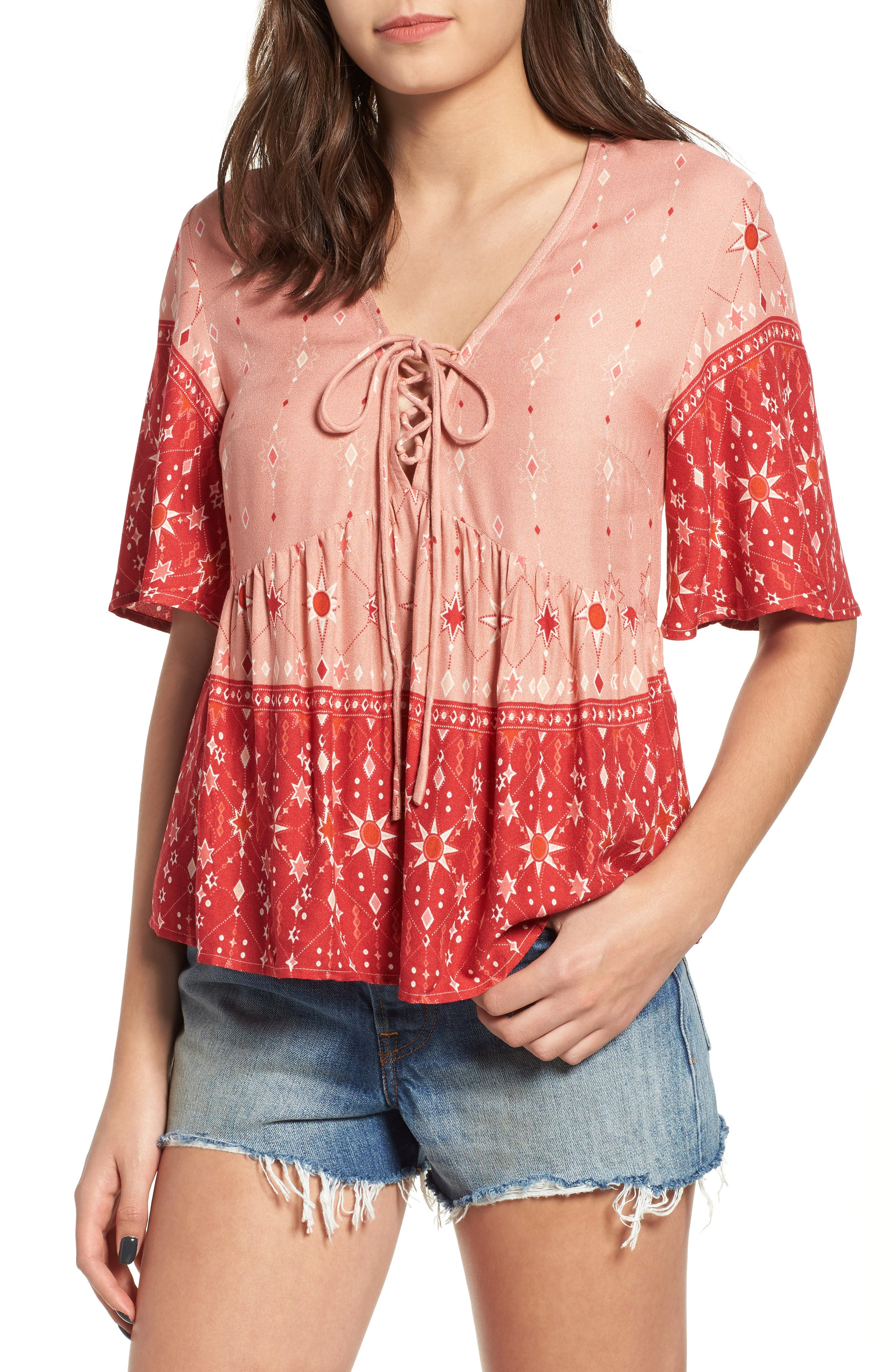 Feeling Love Bicolor Blouse,                             Main thumbnail 1, color,                             Multi