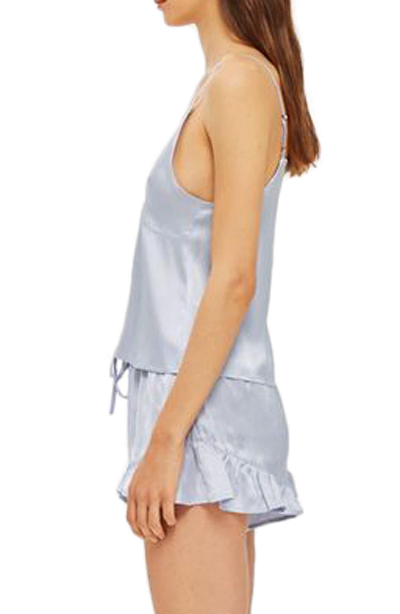 Lucina Satin Short Pajamas,                             Alternate thumbnail 2, color,                             Light Blue