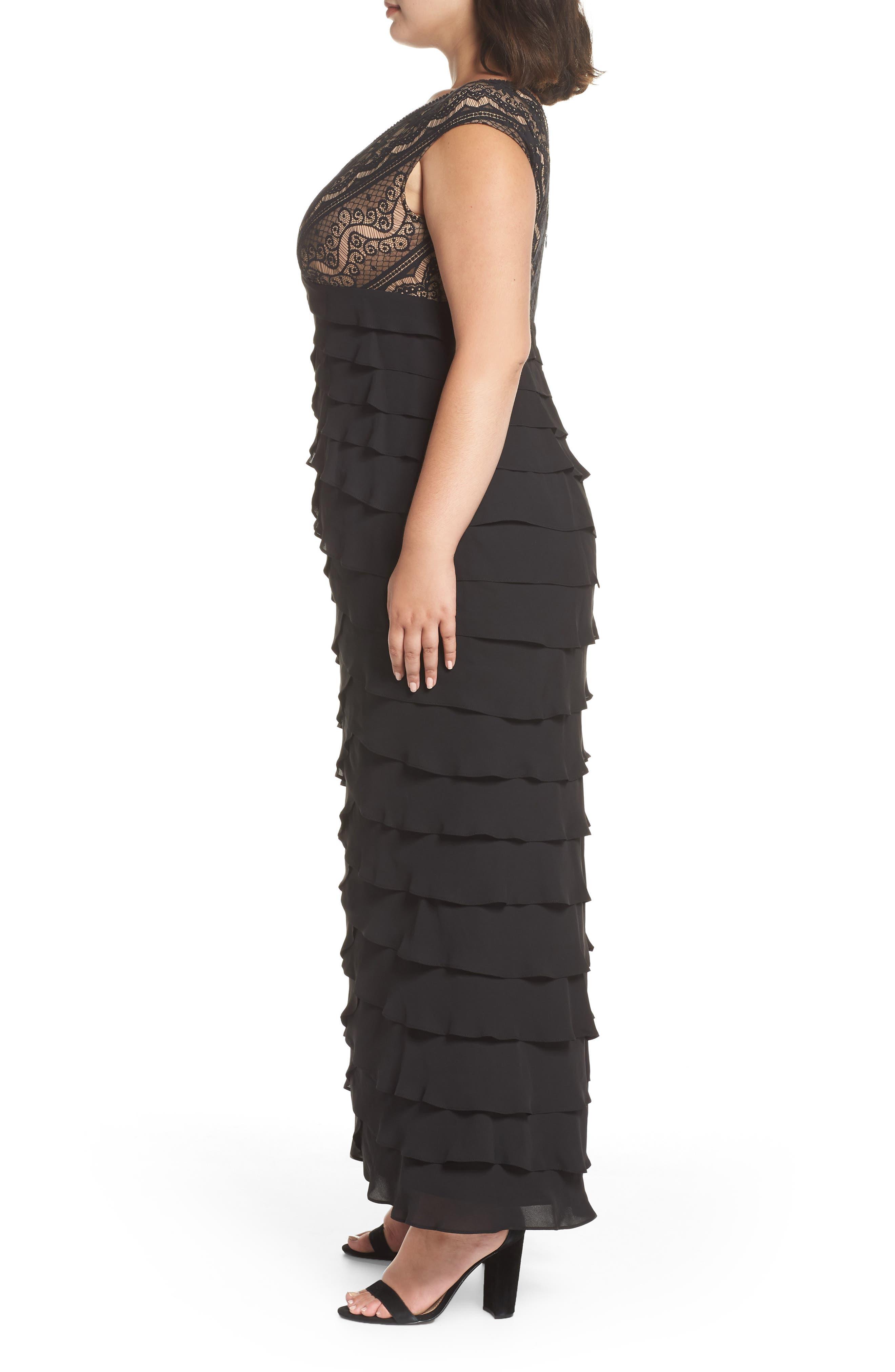 Lace & Shutter Pleat Gown,                             Alternate thumbnail 6, color,                             Black