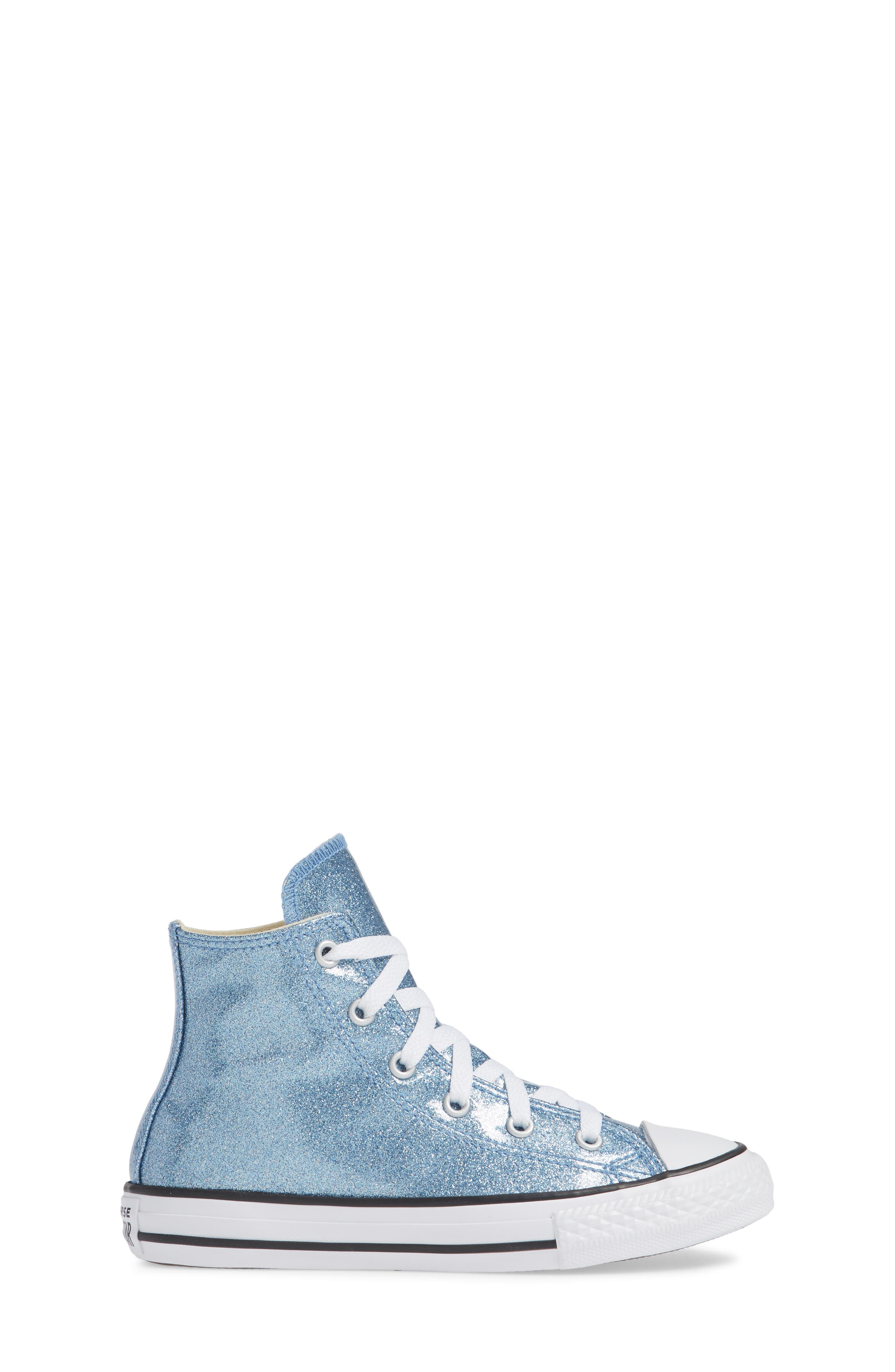 All Star<sup>®</sup> Glitter High Top Sneaker,                             Alternate thumbnail 4, color,                             Light Blue