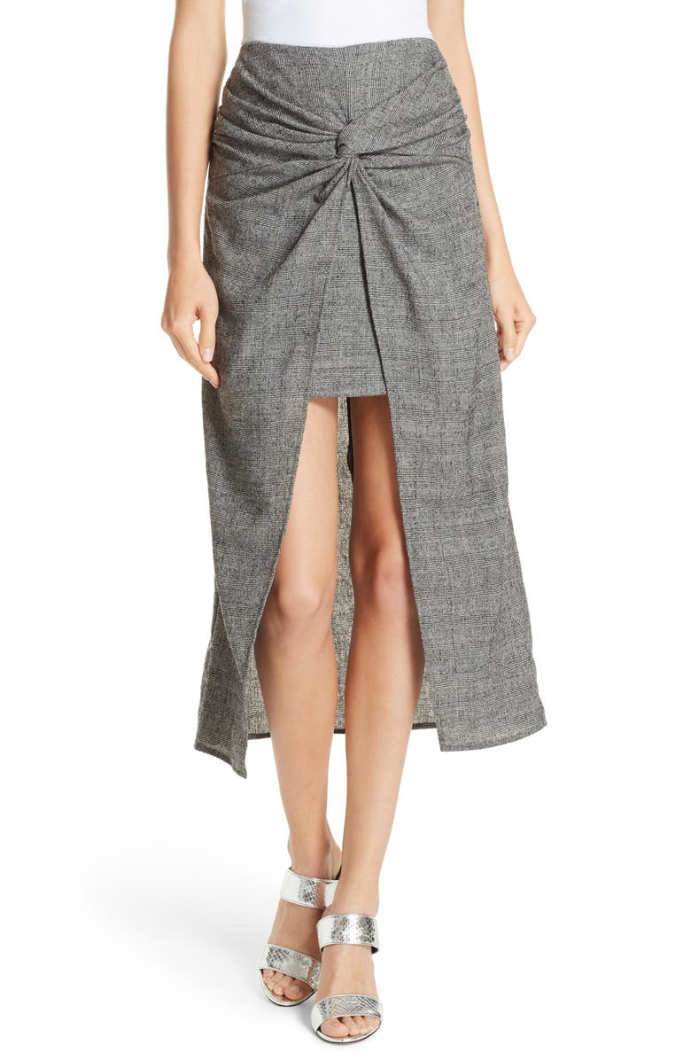 Zola Knot Front Stretch Wool Skirt
