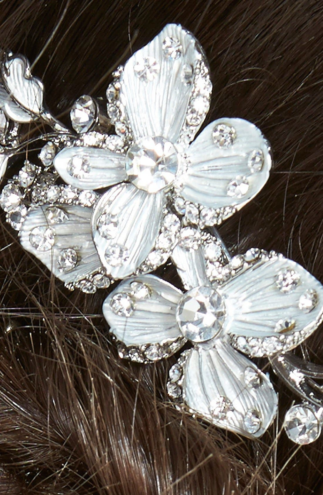 Crystal Floral Hair Comb,                             Alternate thumbnail 2, color,                             Silver