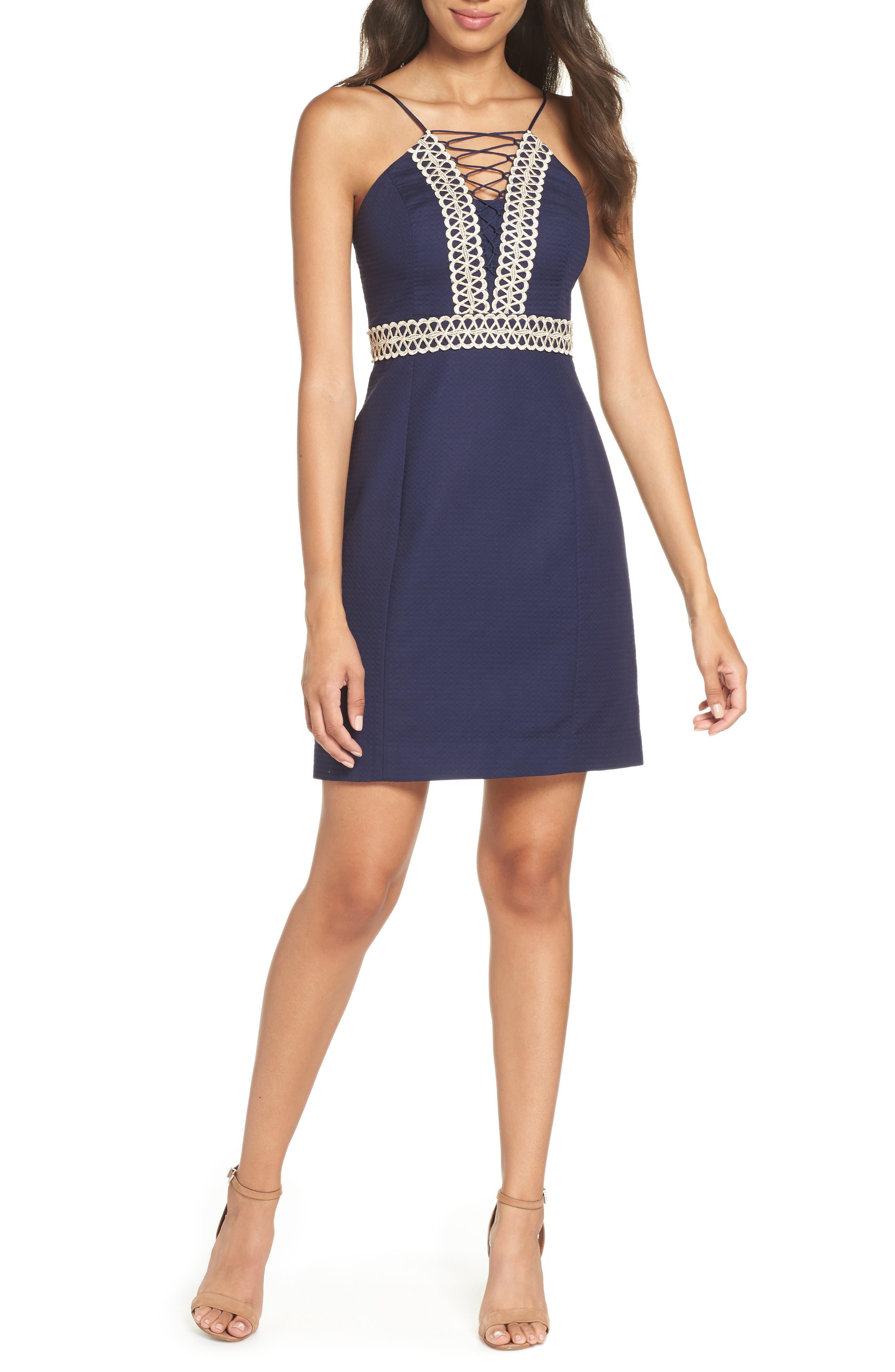 Trista Halter Sheath Dress,                         Main,                         color, True Navy