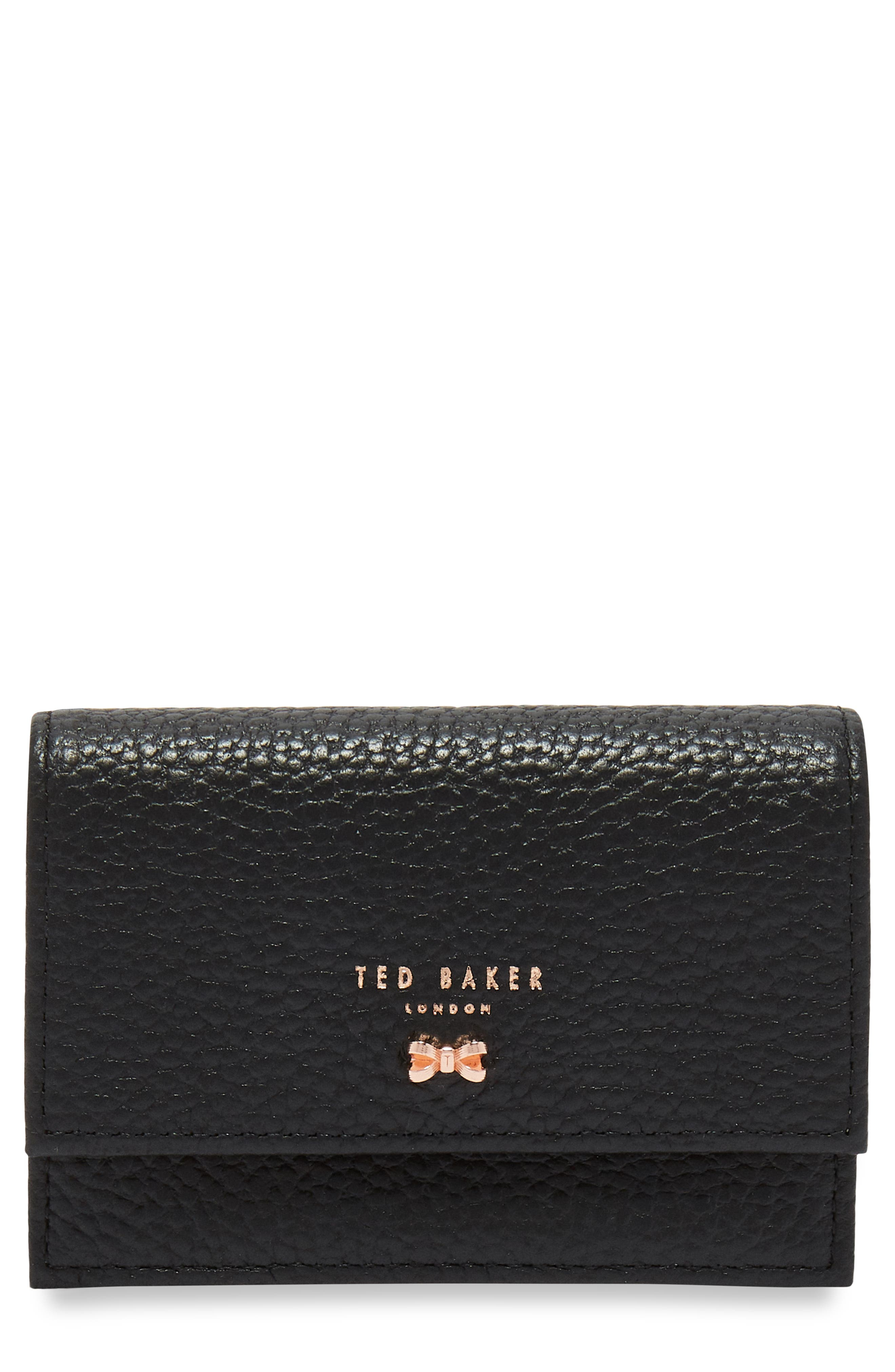 Eves Accordion Leather Card Case,                             Main thumbnail 1, color,                             Black