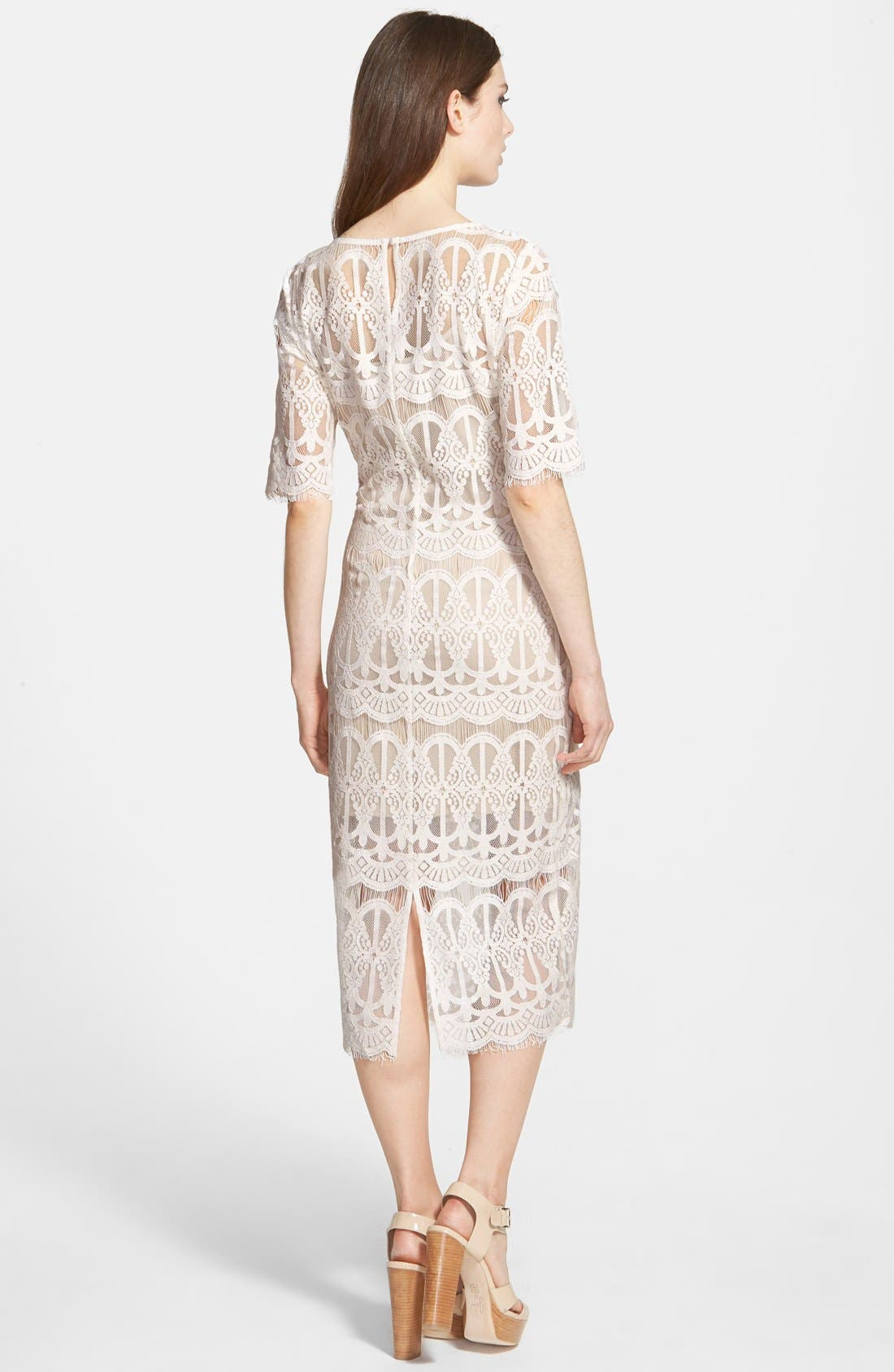 Lace Body-Con Dress,                             Alternate thumbnail 2, color,                             Ivory