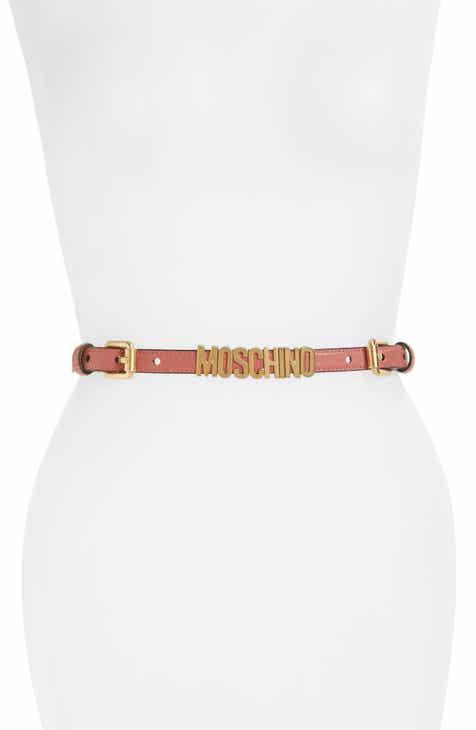 3cc575123f5c Moschino Logo Skinny Leather   Chain Belt