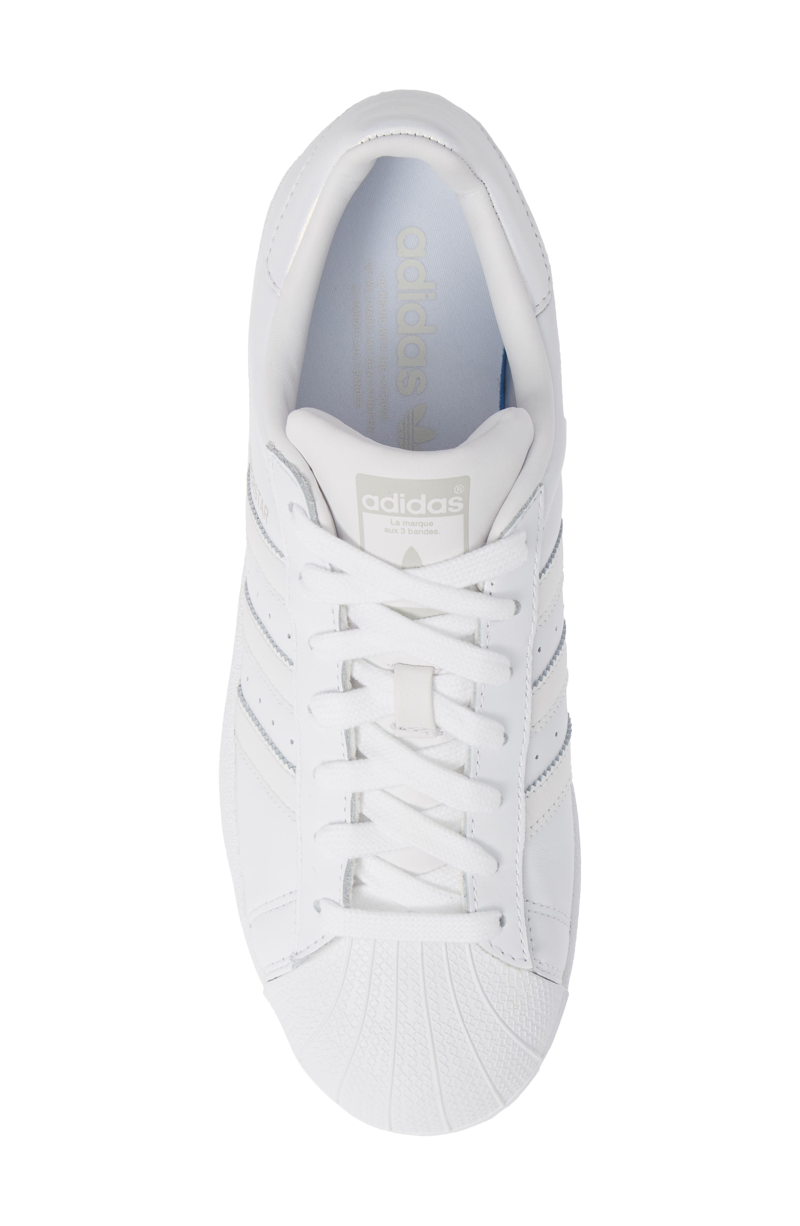 Superstar Sneaker,                             Alternate thumbnail 4, color,                             White/ White/ Grey One