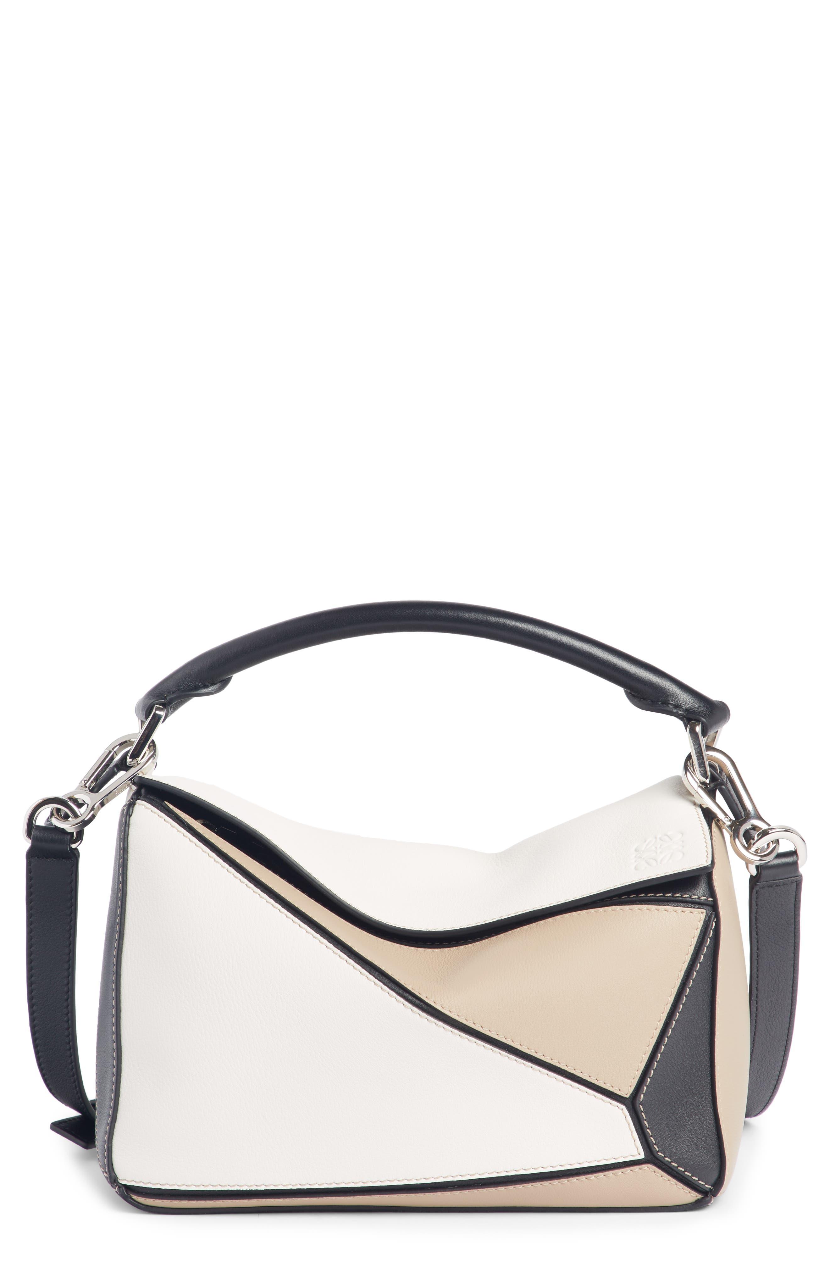 Puzzle Calfskin Leather Bag,                             Main thumbnail 1, color,                             Soft White/ Sand