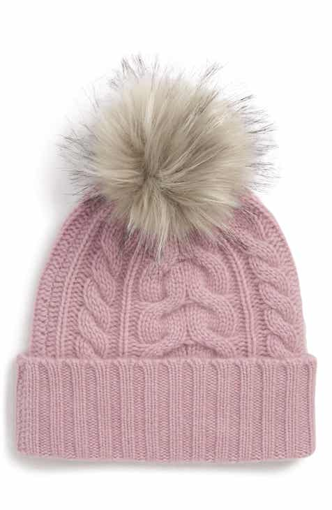 Halogen® Cashmere Cable Knit Beanie with Faux Fur Pom 99928d3d64d
