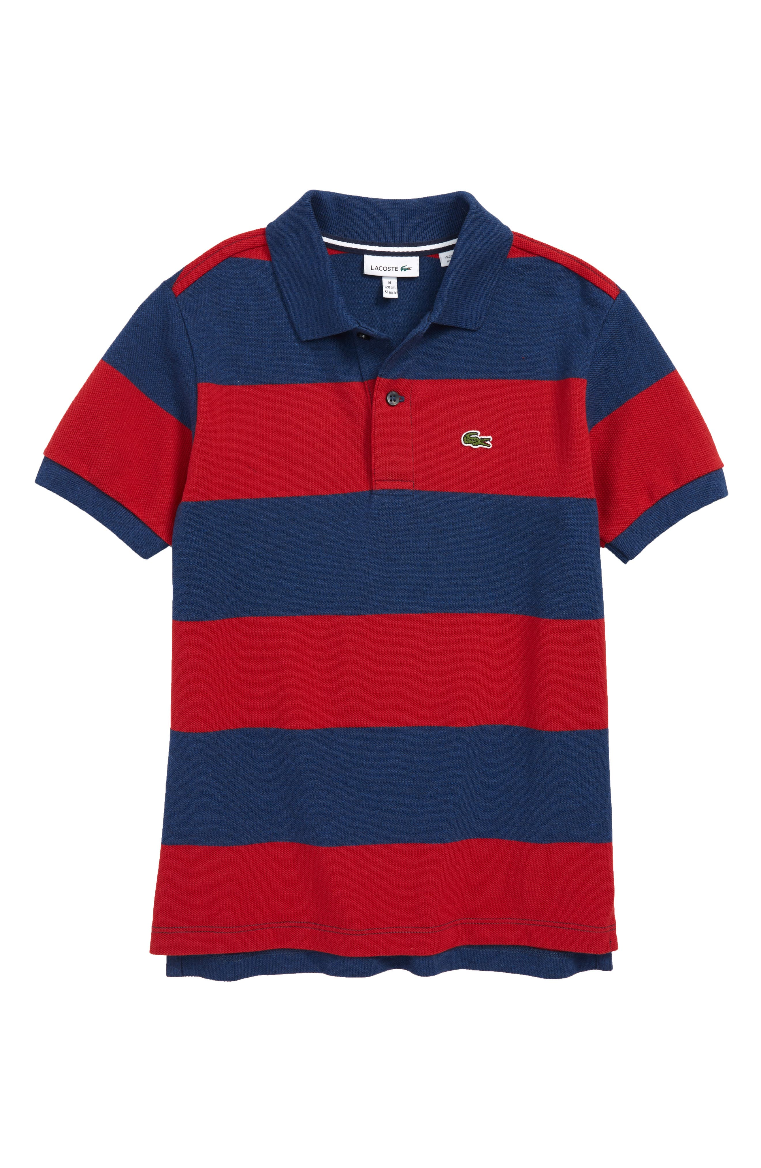 Bicolor Stripe Piqué Polo,                         Main,                         color, Lighthouse Red