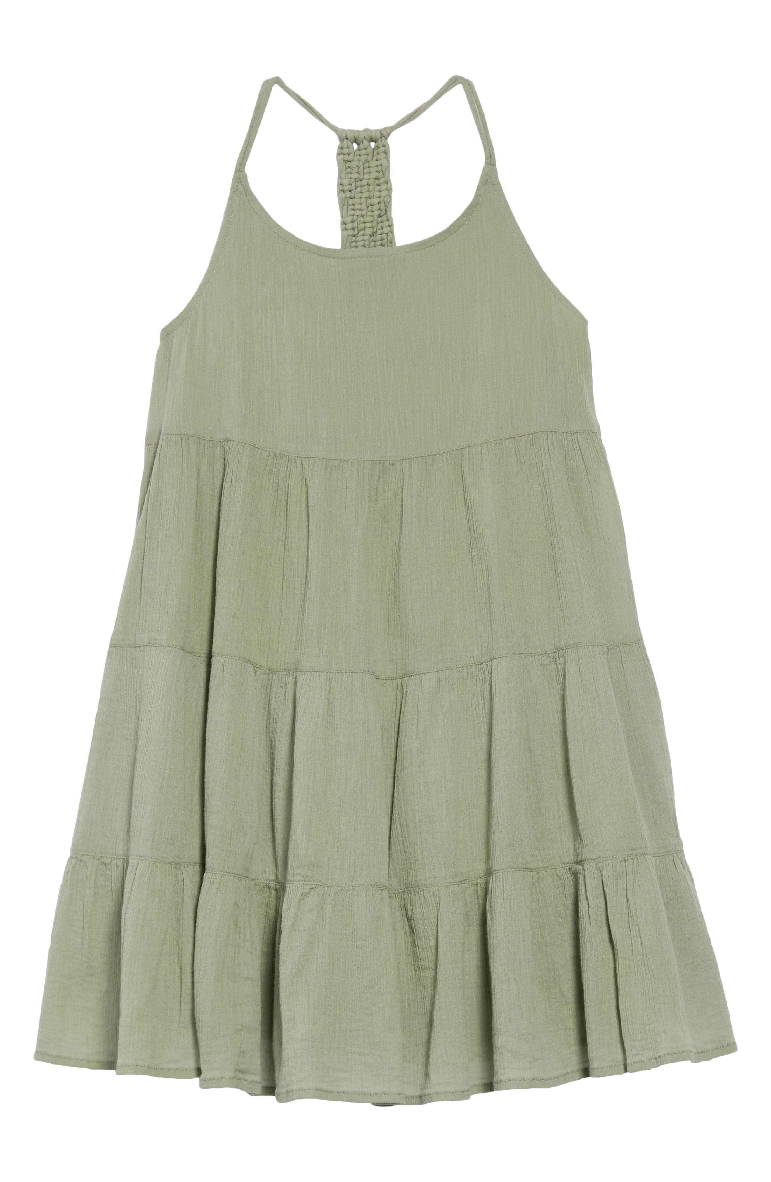 Macrame Tiered Dress,                             Main thumbnail 1, color,                             Green Hedge