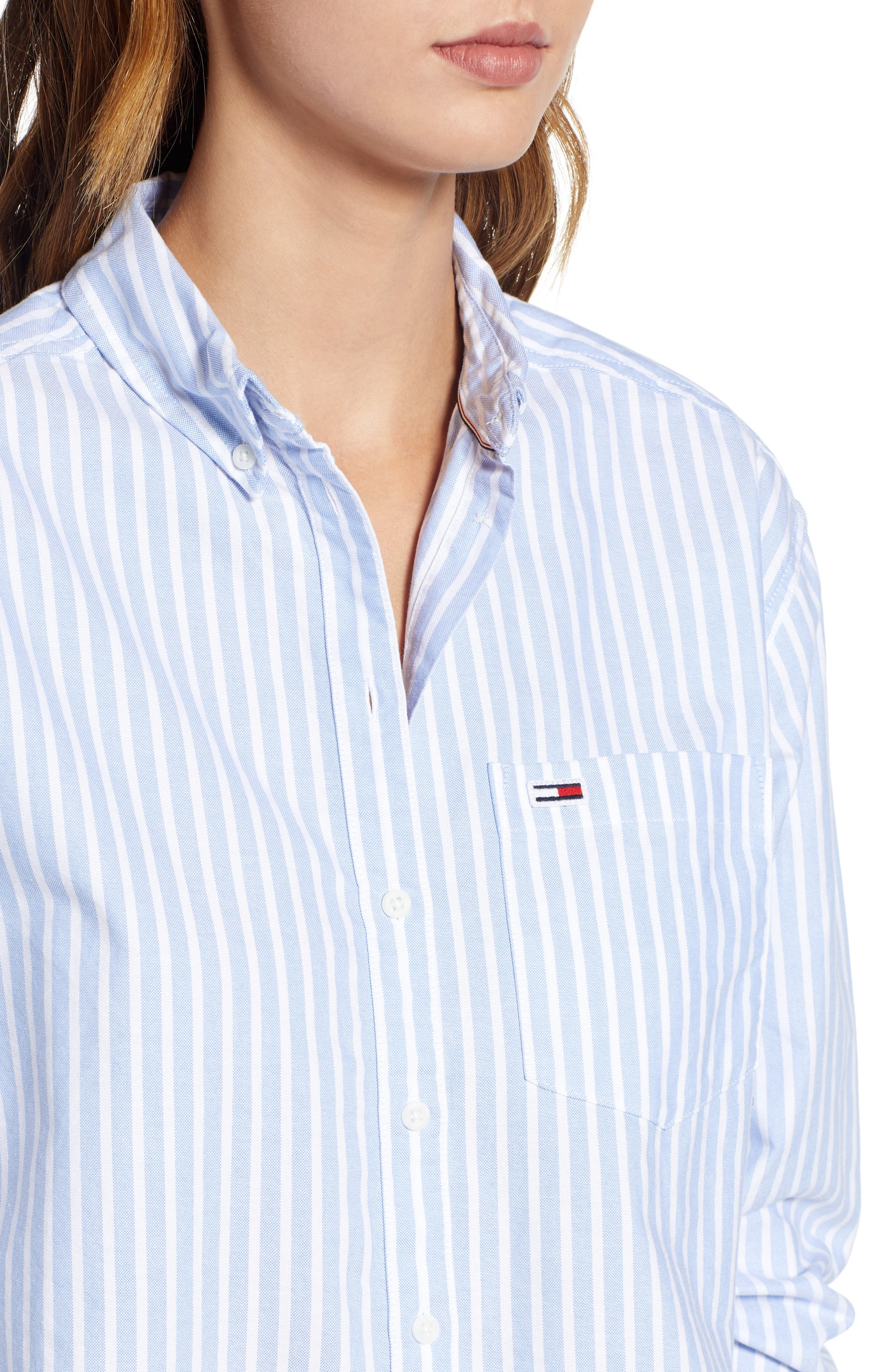 Classics Stripe Shirt,                             Alternate thumbnail 3, color,                             Light Blue / Bright White