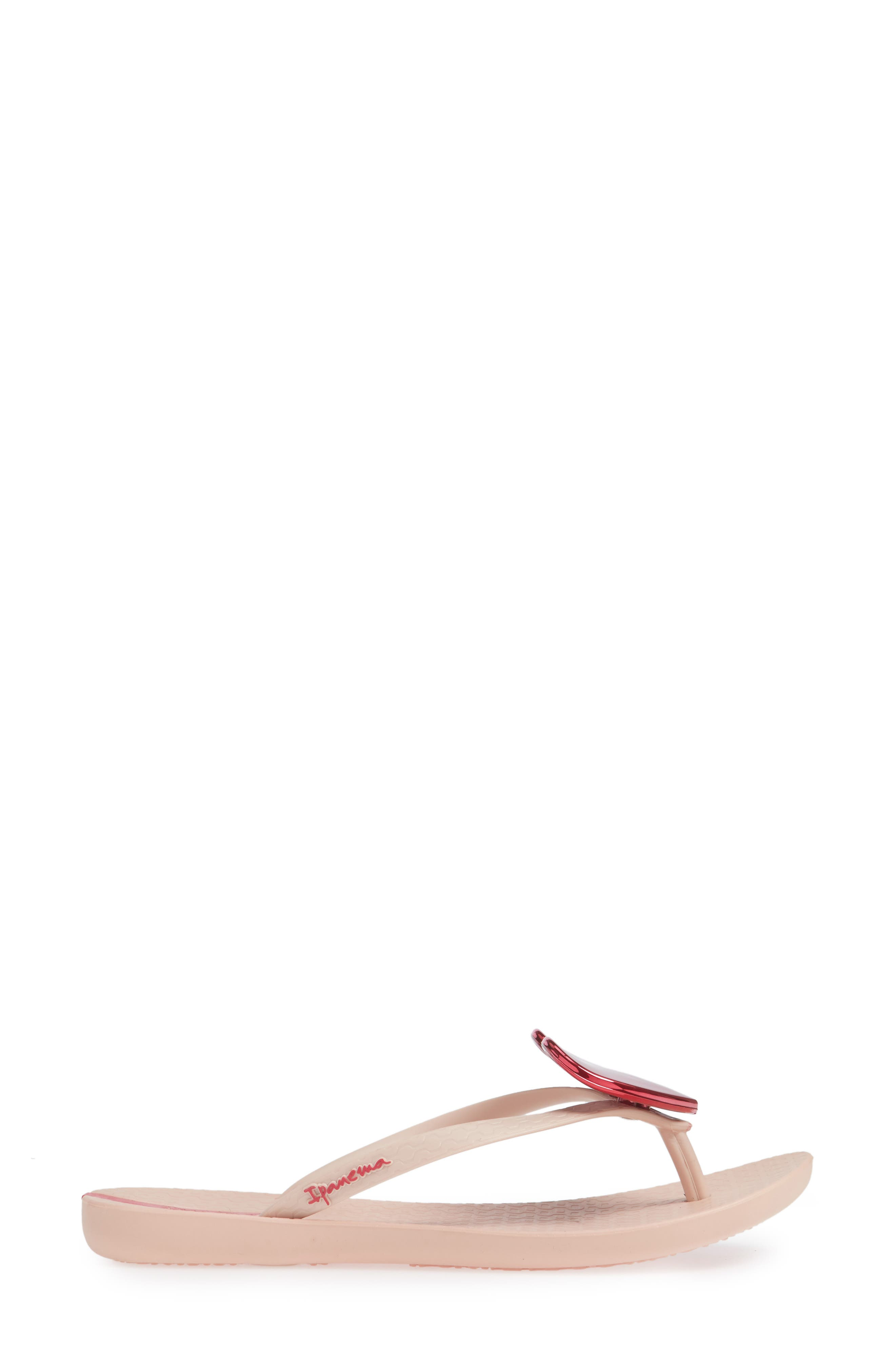 Wave Heart Flip Flop,                             Alternate thumbnail 6, color,                             Pink/ Pink