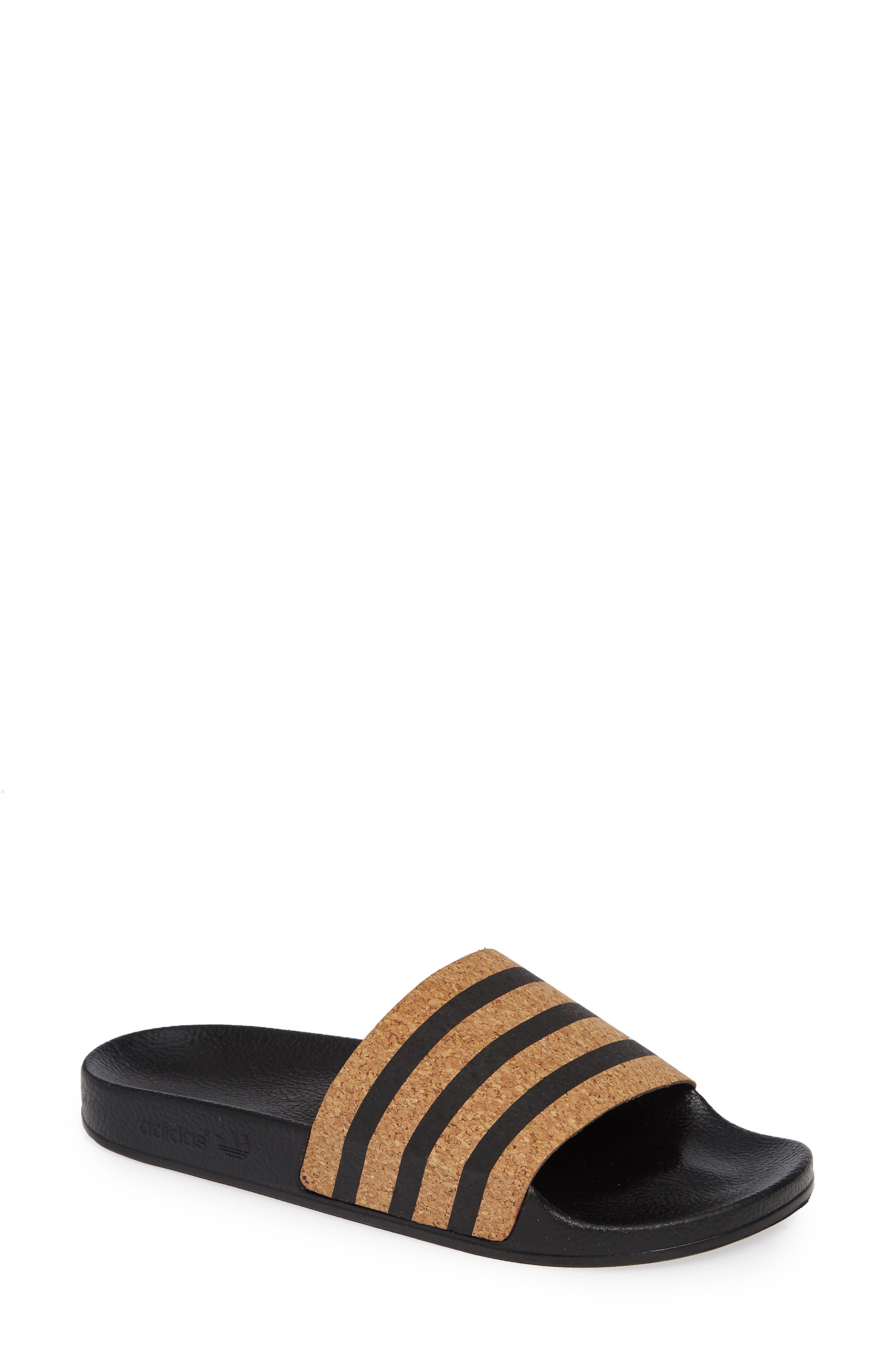 'Adilette' Slide Sandal,                             Main thumbnail 1, color,                             Core Black/ Core Black