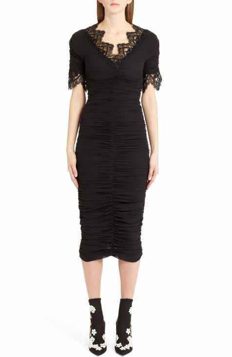 Dolce&Gabbana Lace Trim Ruched Silk Blend Dress by DOLCE AND GABBANA