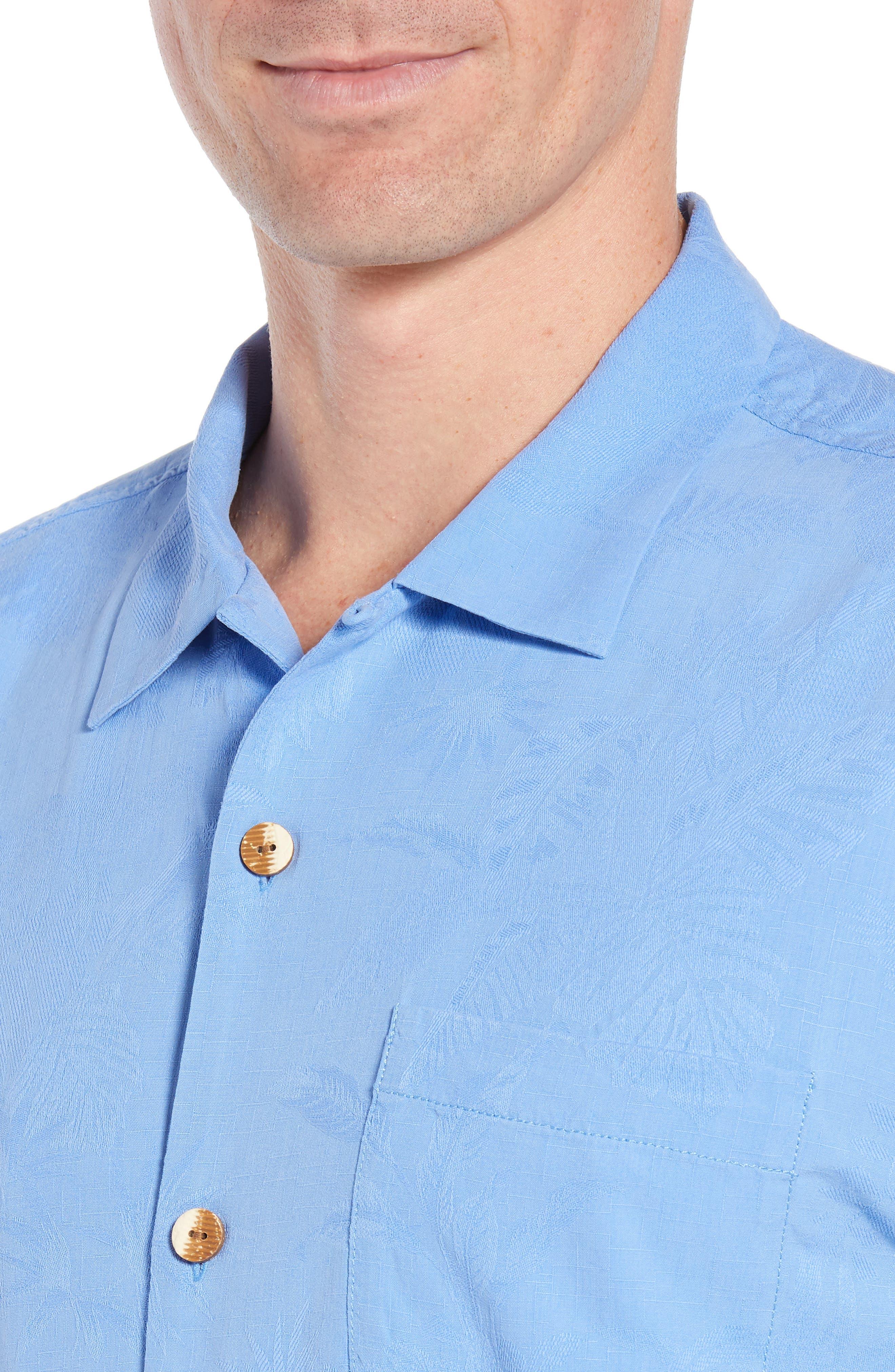 St Lucia Fronds Silk Camp Shirt,                             Alternate thumbnail 2, color,                             New Blue Opal