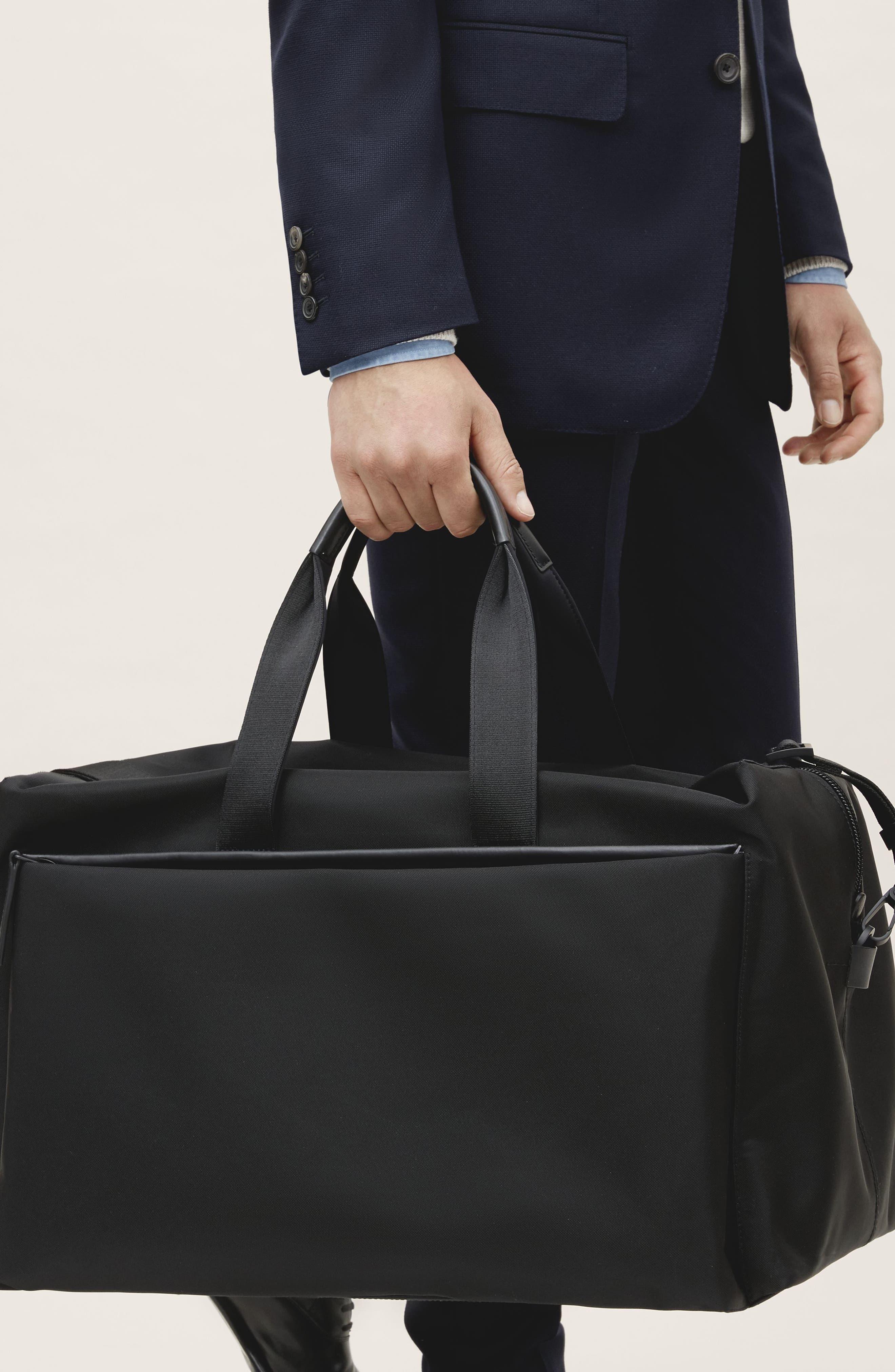 Lightweight Duffel Bag,                             Alternate thumbnail 12, color,                             Black Nylon/ Black Leather