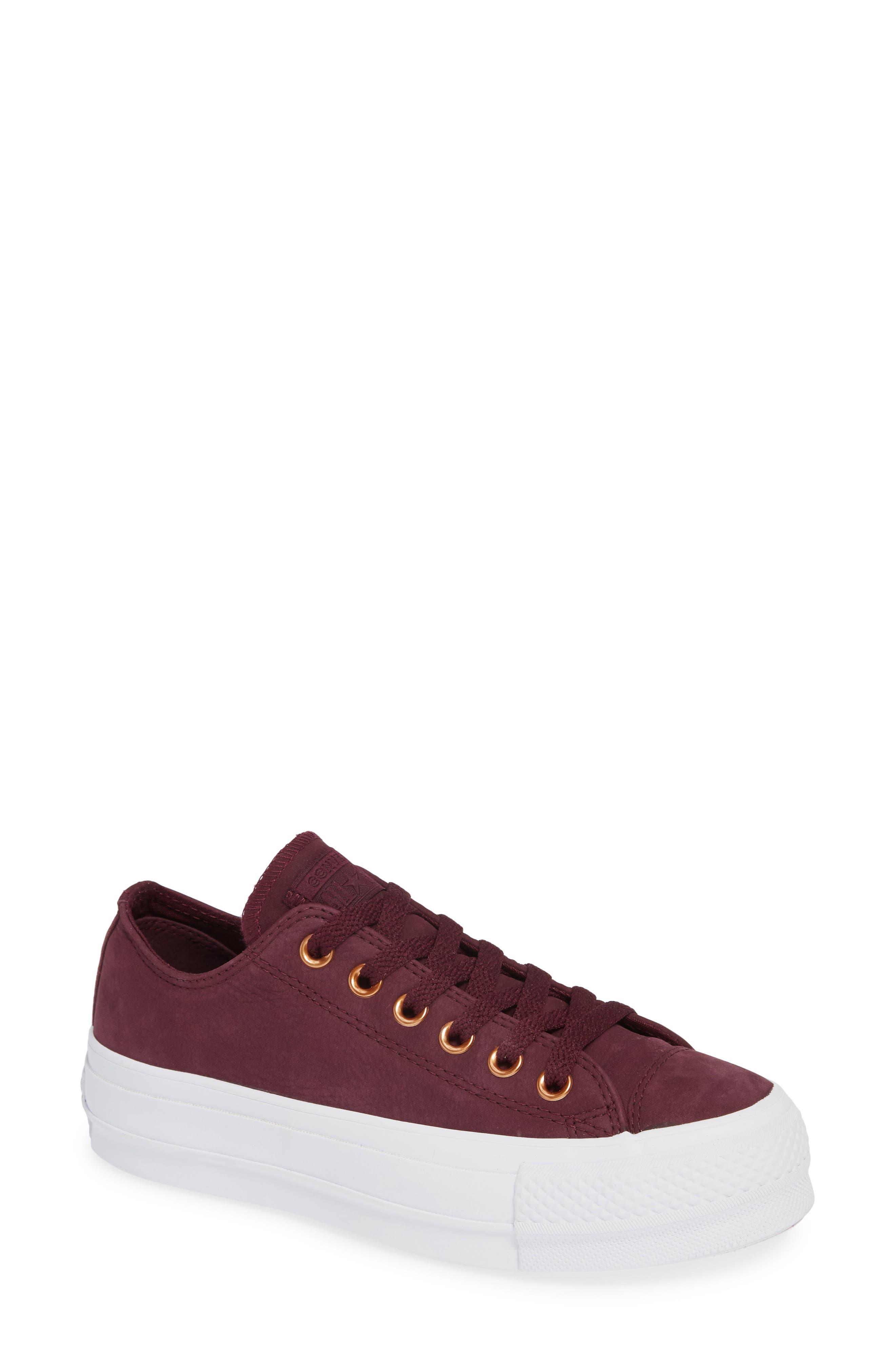 Chuck Taylor<sup>®</sup> All Star<sup>®</sup> Platform Sneaker,                         Main,                         color, Dark Sangria Nubuck