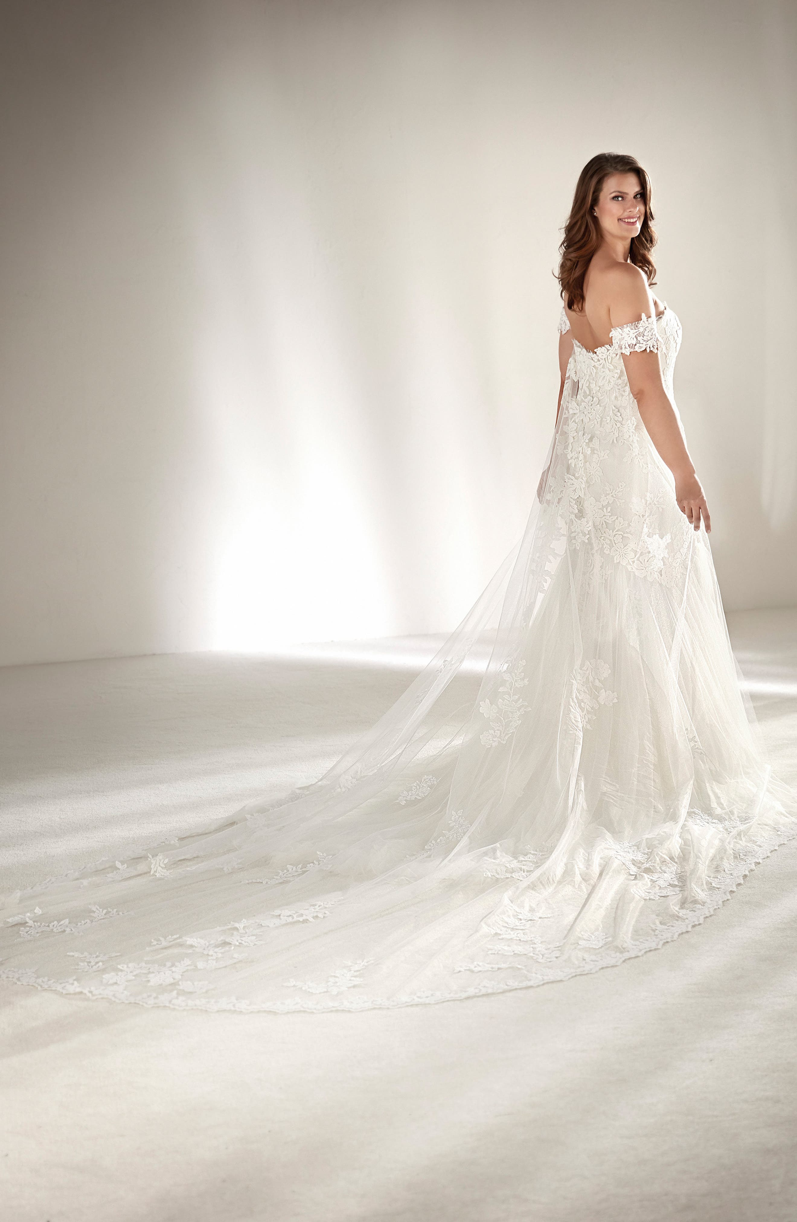 Drimea Strapless Mermaid Gown with Tulle Cape,                             Alternate thumbnail 2, color,                             Off White