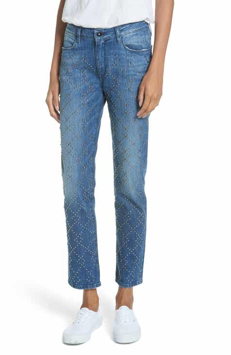 BROCKENBOW Cale Lily Studded Ankle Straight Leg Jeans (Tokyo Blue)