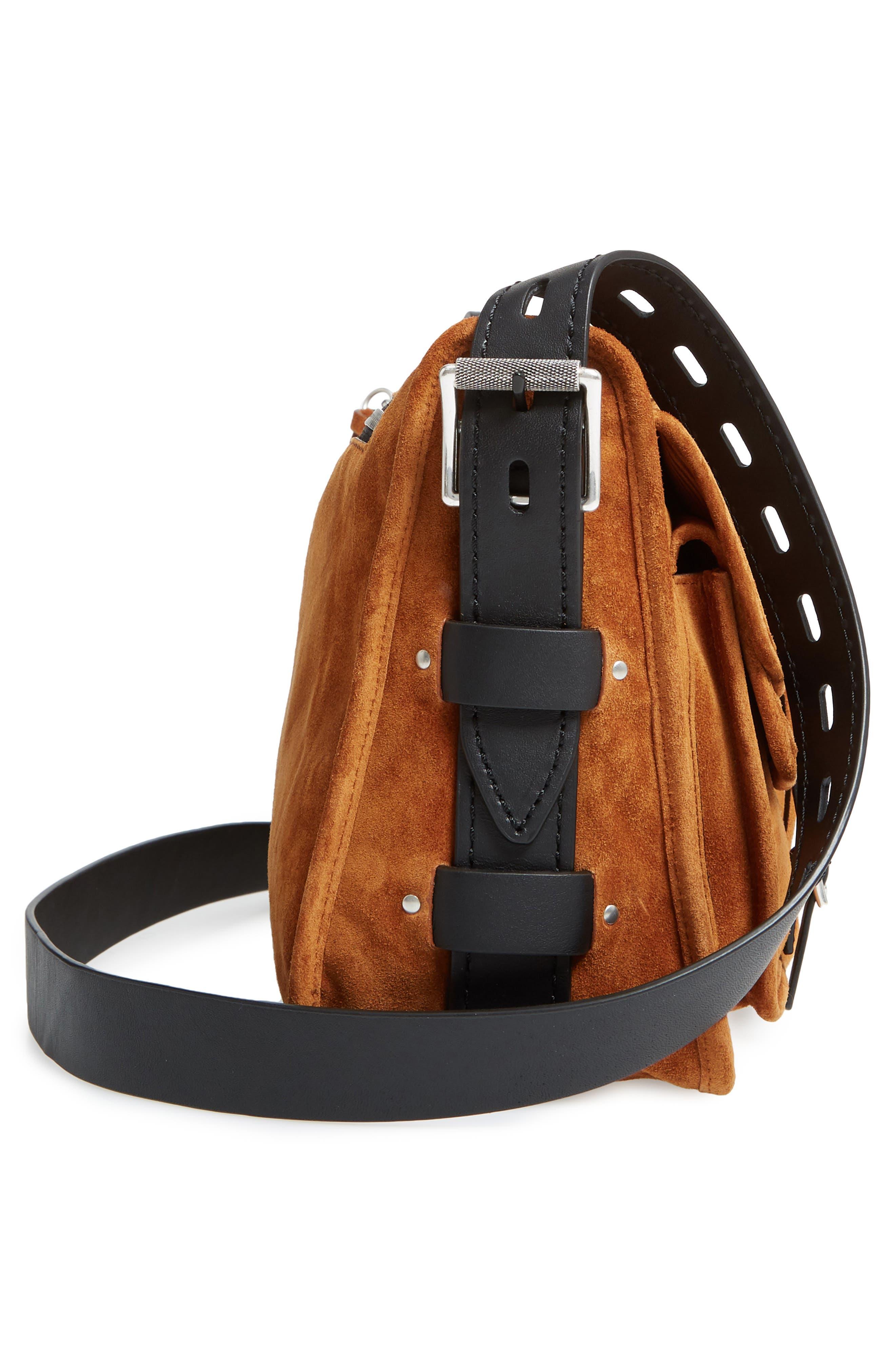 Field Leather Messenger Bag,                             Alternate thumbnail 5, color,                             Tan Suede