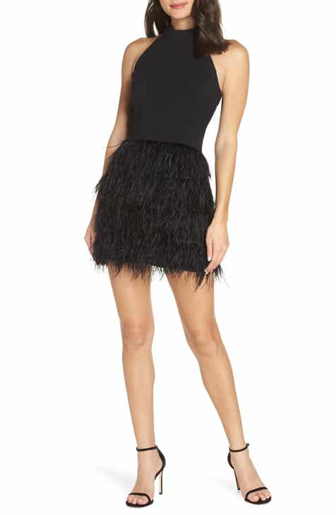 Forest Lily Feather Halter Dress by FOREST LILY