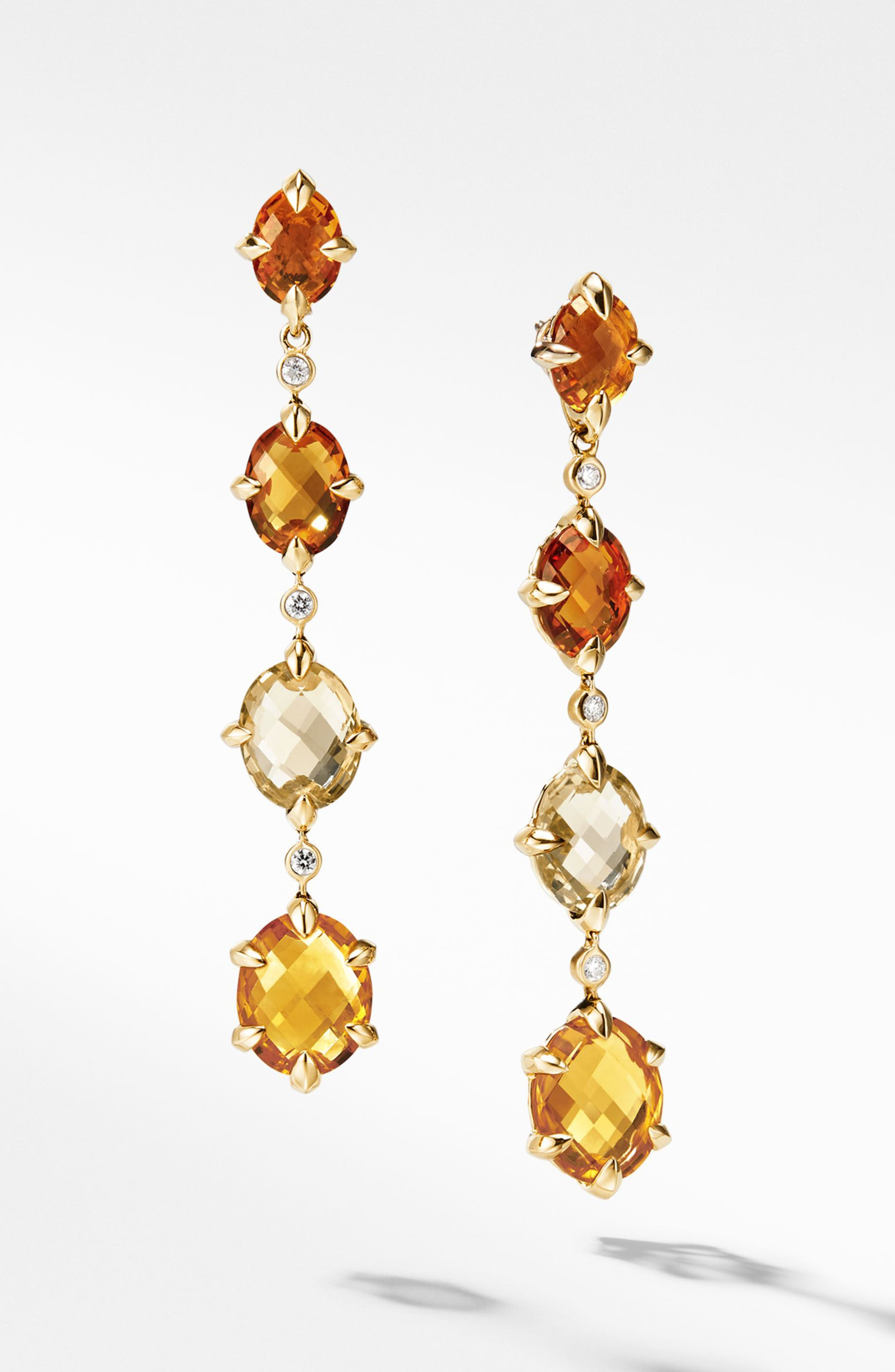 Chatelaine<sup>®</sup> 18k Gold Drop Earrings with Diamonds,                             Main thumbnail 1, color,                             Gold/ Diamond/ Citrine
