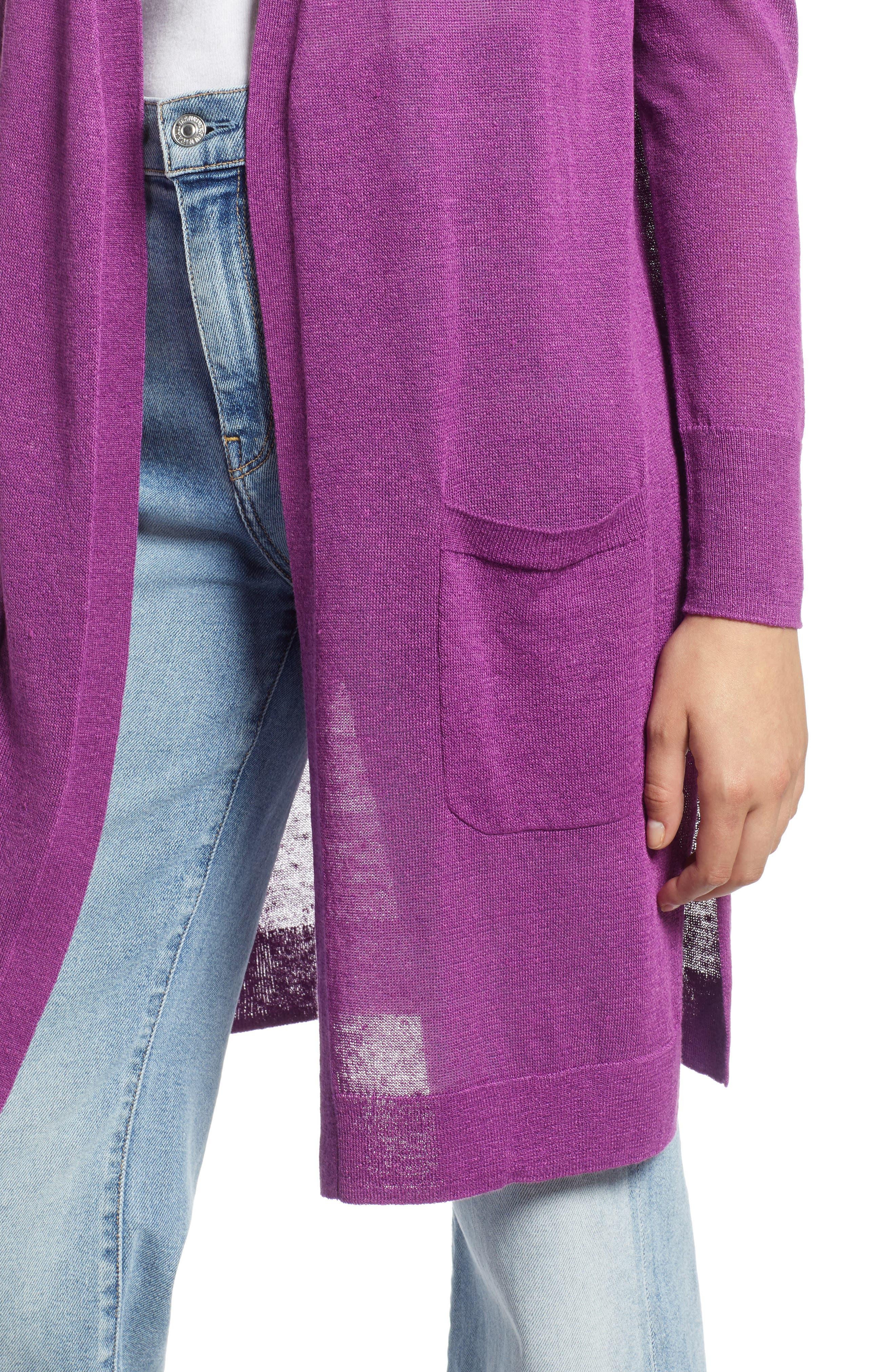 Long Linen Blend Cardigan,                             Alternate thumbnail 3, color,                             Purple Sparkle