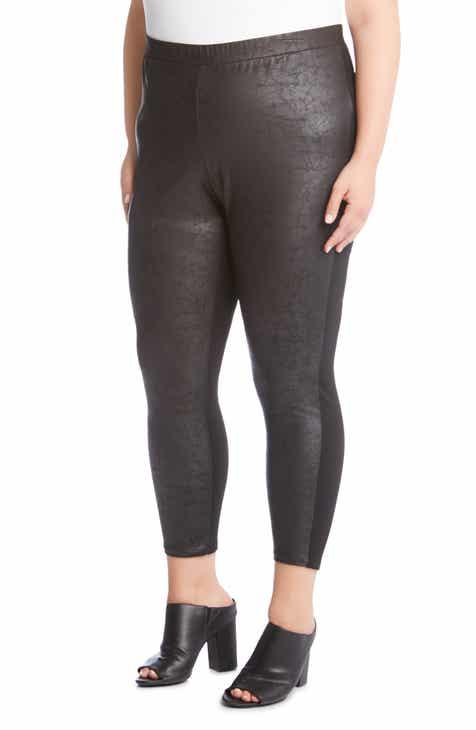 Karen Kane Cropped Faux Leather Pants (Plus Size)