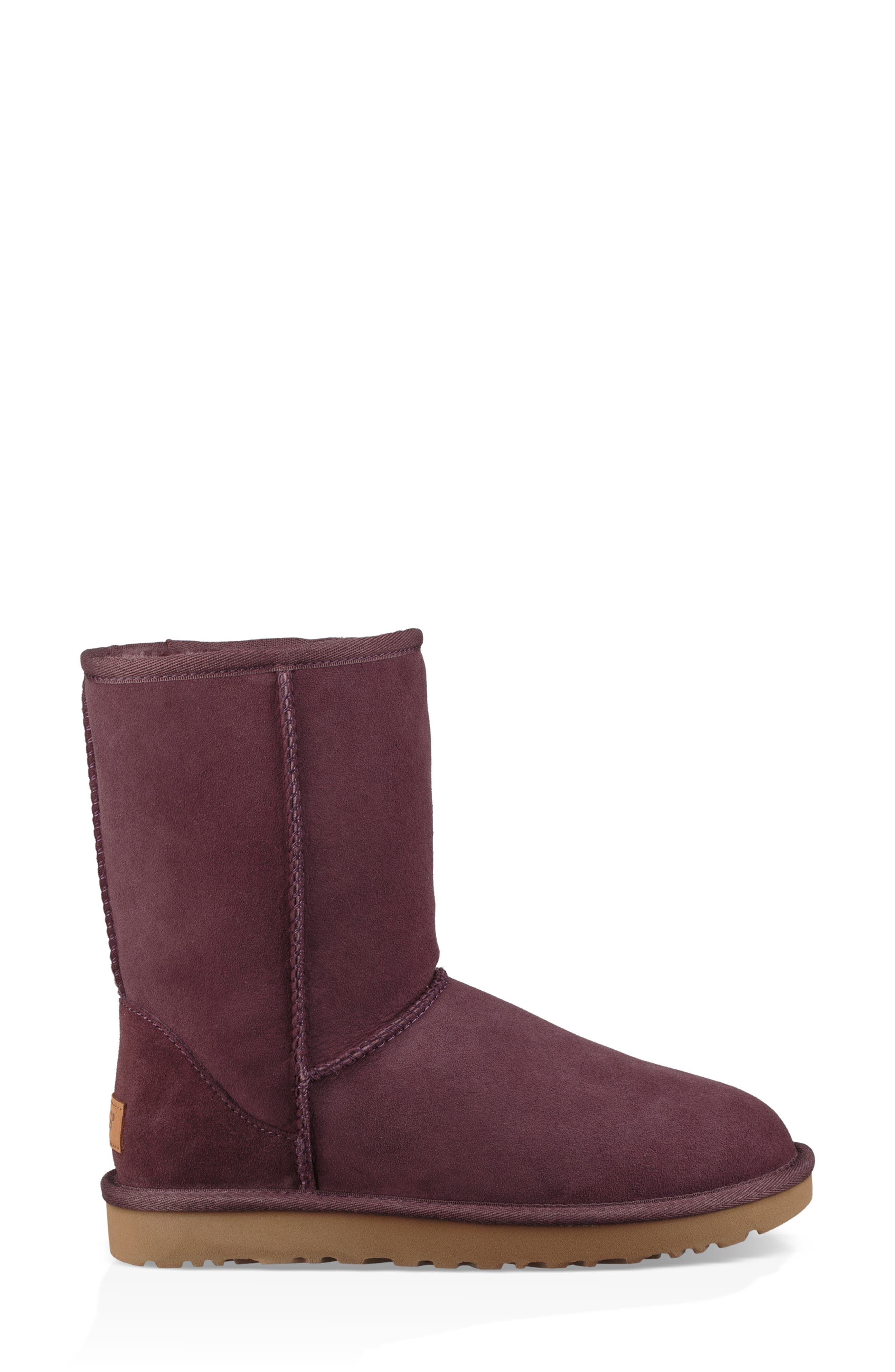 'Classic II' Genuine Shearling Lined Short Boot,                             Alternate thumbnail 4, color,                             Port
