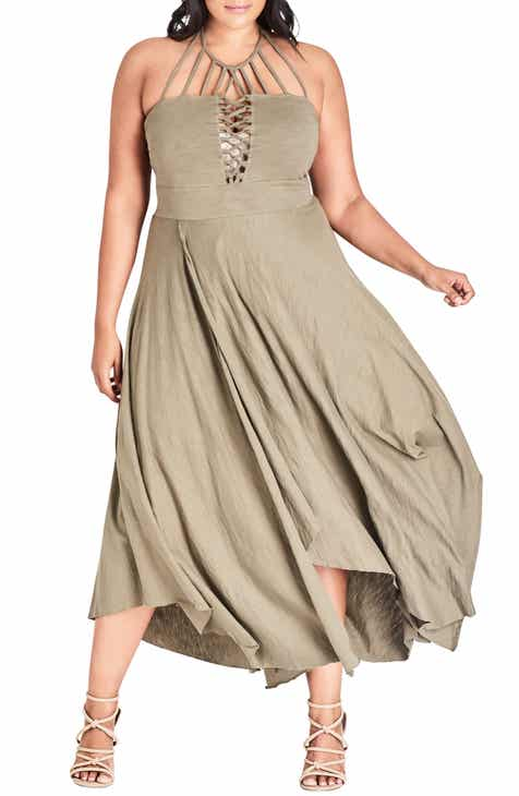City Chic Strappy Asymmetrical Faux Wrap Halter Maxi Dress (Plus Size) 3234e7384