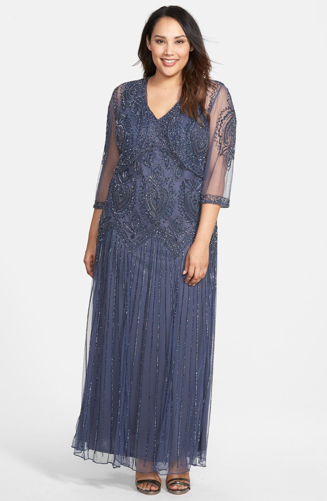 Beaded V-Neck Gown & Jacket,                         Main,                         color, Blue