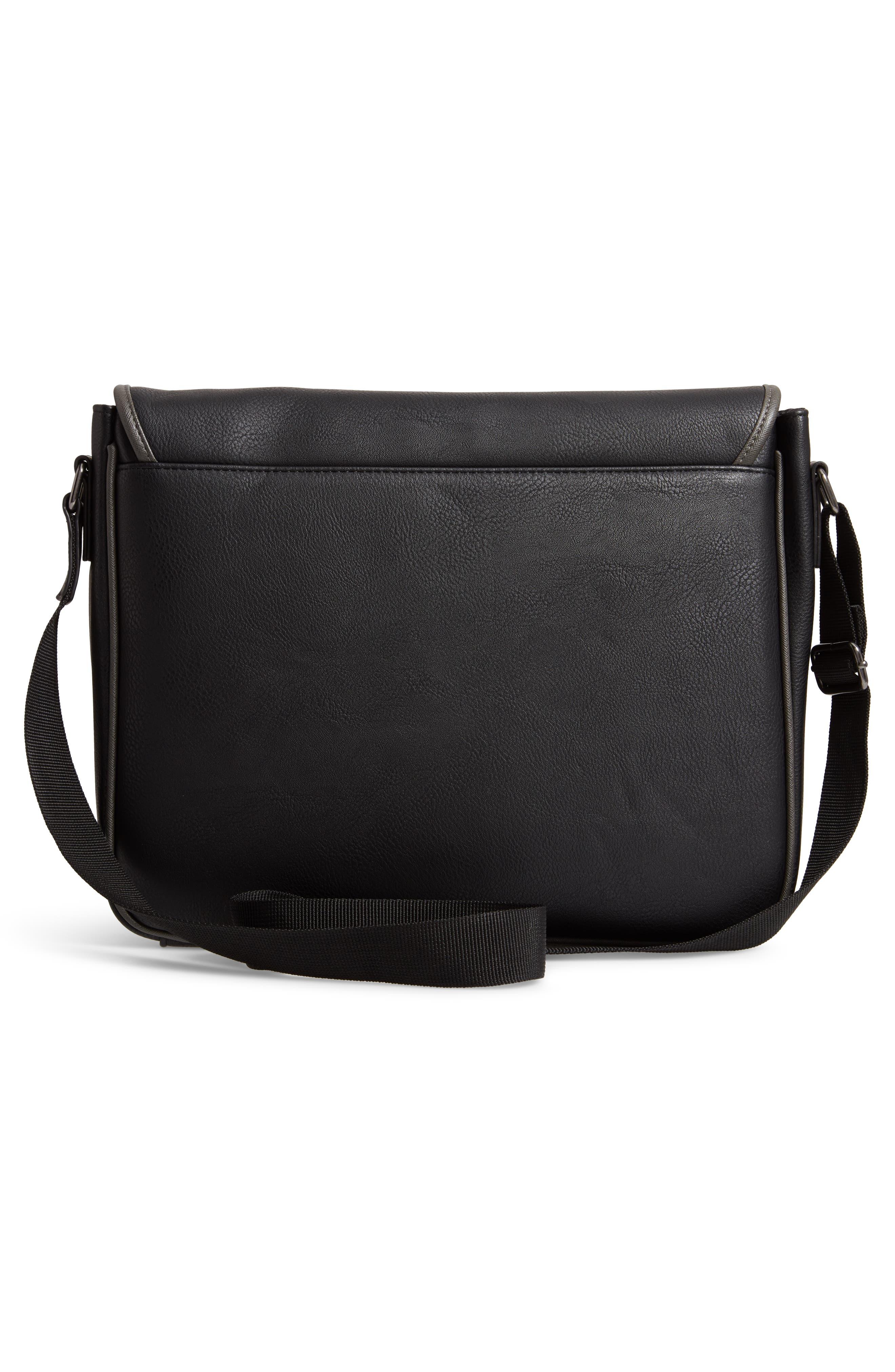 Kingcol Faux Leather Messenger Bag,                             Alternate thumbnail 3, color,                             Black