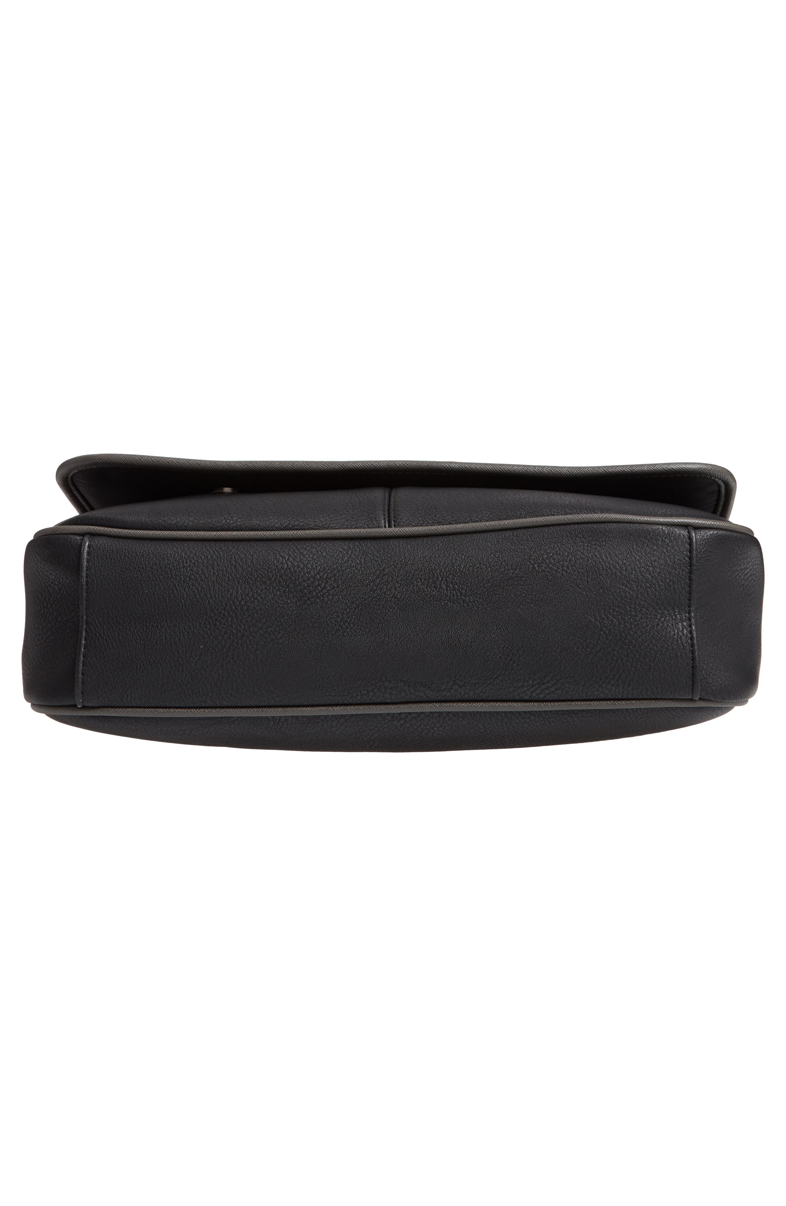 Kingcol Faux Leather Messenger Bag,                             Alternate thumbnail 5, color,                             Black