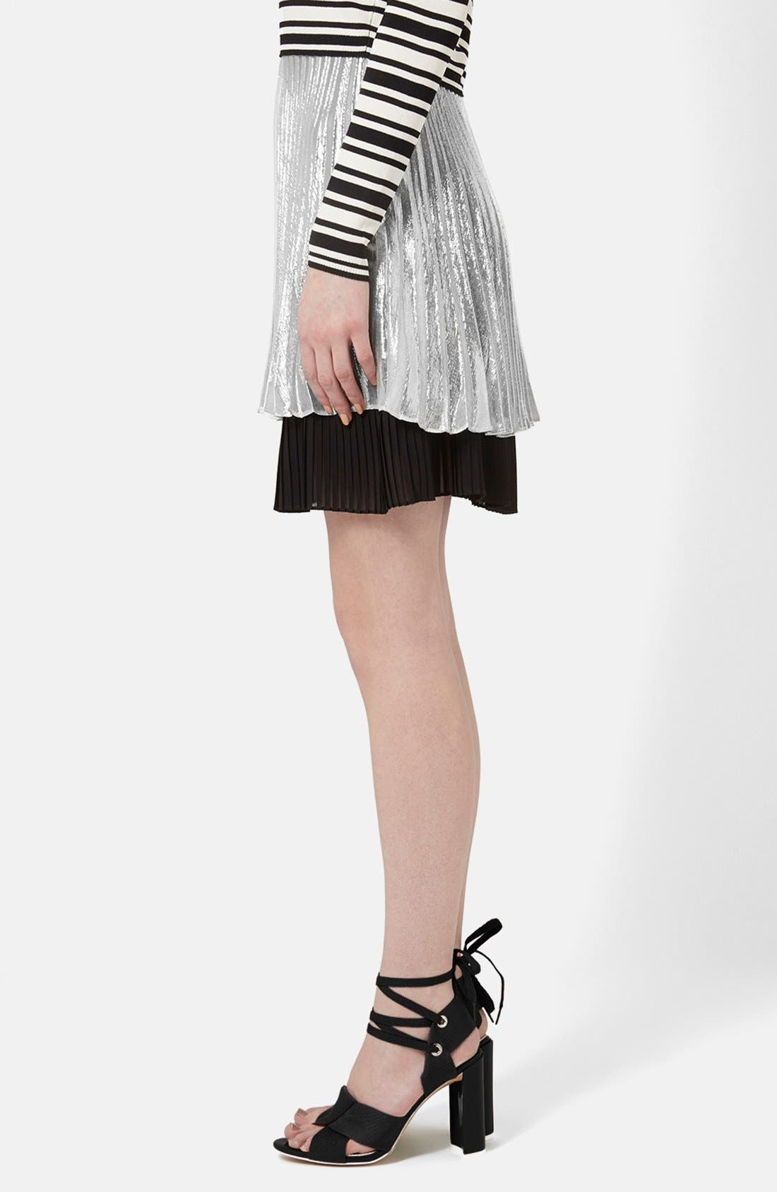 'Sun Ray' Two Tier Pleated Skirt,                             Alternate thumbnail 3, color,                             Silver