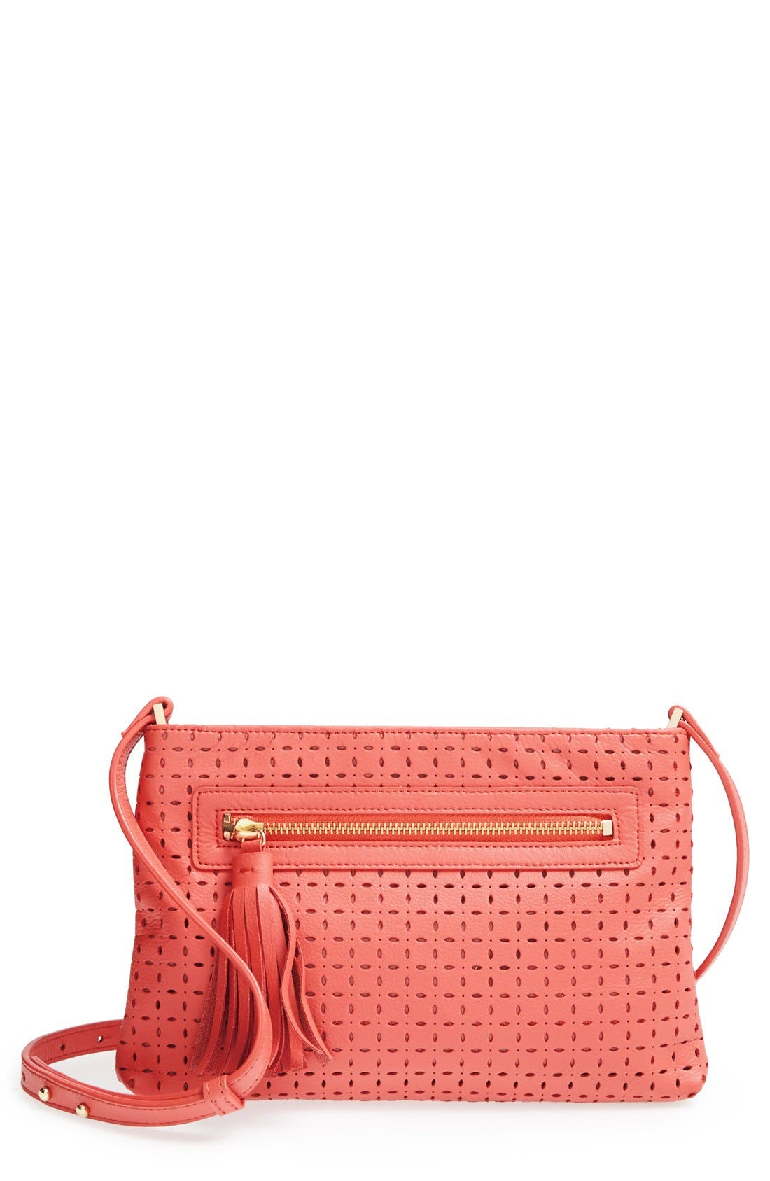 Alternate Image 1 Selected - Halogen® Perforated Leather Crossbody Bag