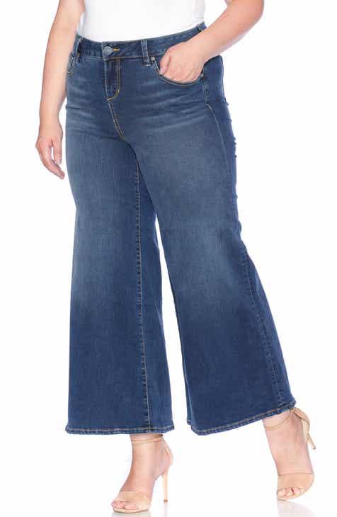 e6207de0f1f5d SLINK High Waist Wide Leg Crop Jeans (Heather) (Plus Size)