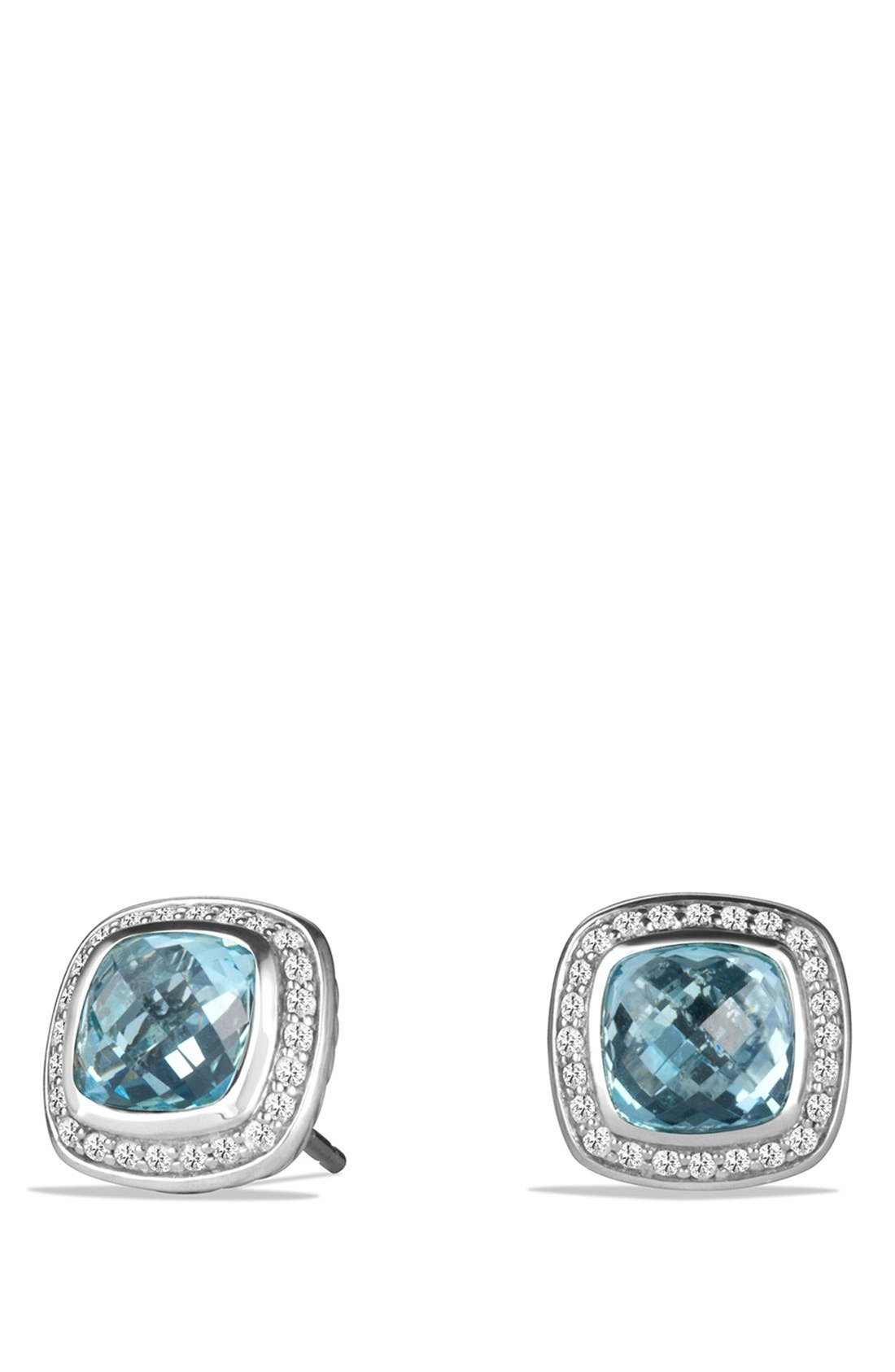 'Albion' Earrings with Semiprecious Stone and Diamonds,                         Main,                         color, Blue Topaz