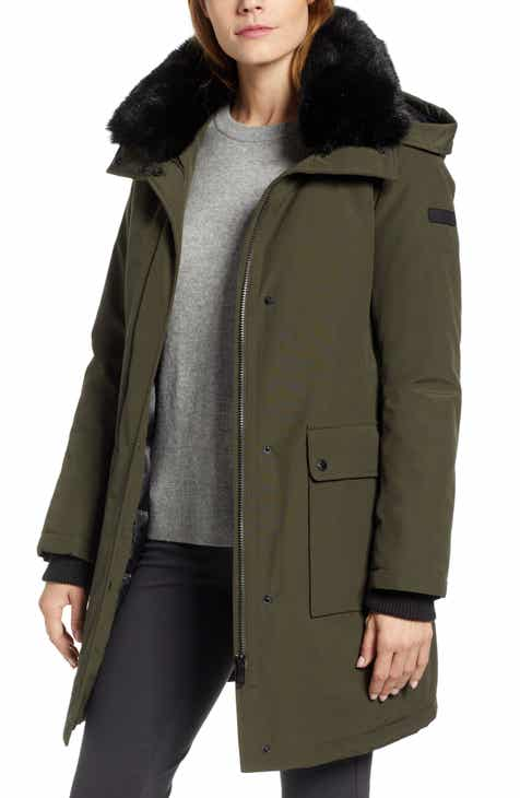 bc007662e9a4 Sam Edelman Faux Fur Trim Canvas Parka