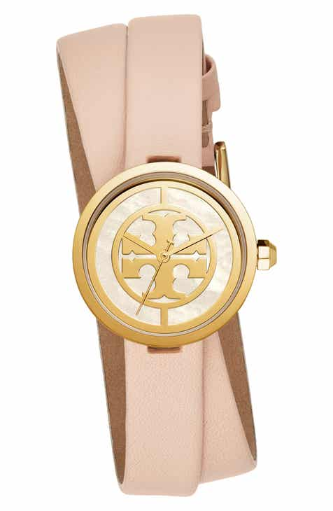 8f173458980 Tory Burch Reva Double Wrap Leather Strap Watch